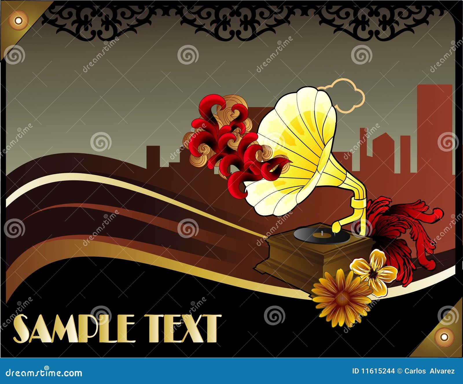 r tro affiche de musique d 39 art d co images stock image 11615244. Black Bedroom Furniture Sets. Home Design Ideas