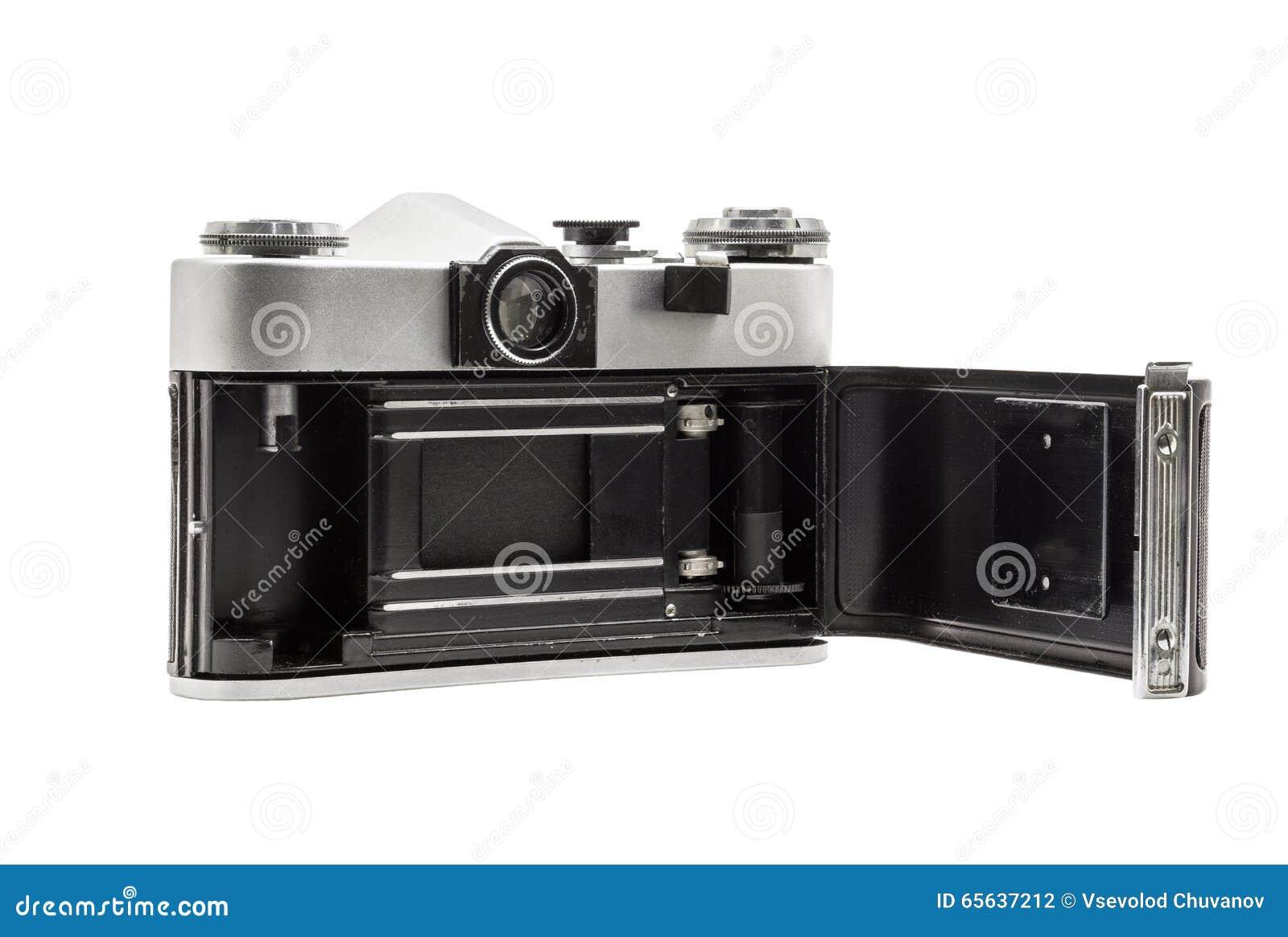 Rétro appareil-photo soviétique de film d isolement sur le fond blanc Appareil-photo réflexe soviétique Ouvert arrière
