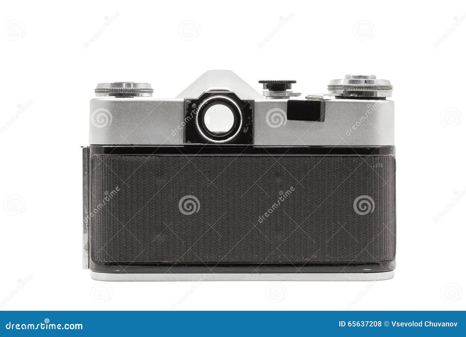 Rétro appareil-photo soviétique de film d isolement sur le fond blanc Appareil-photo réflexe soviétique Vue d arrière