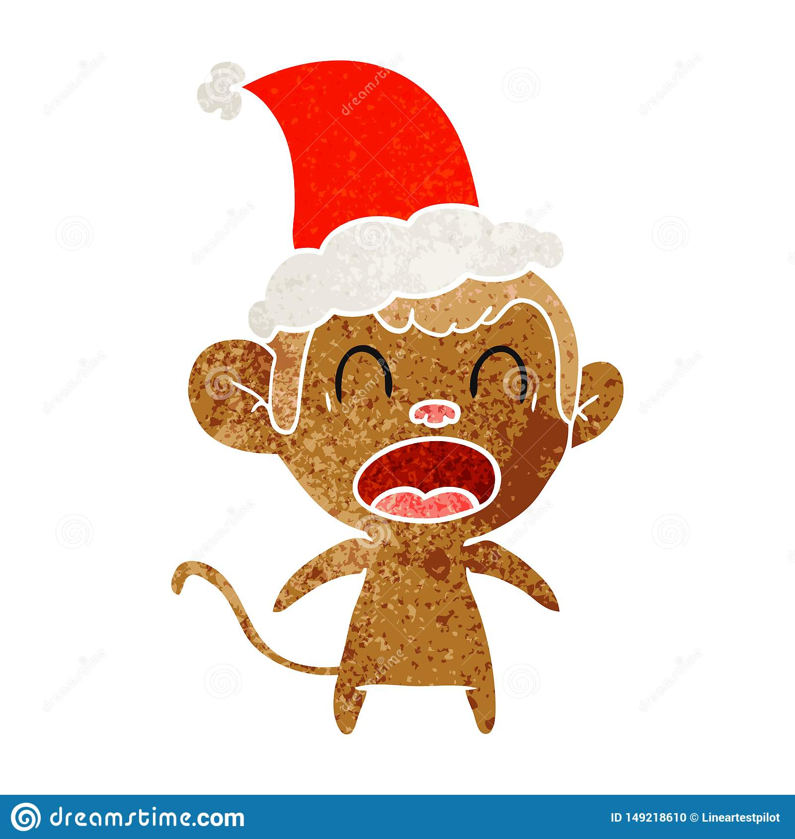 R?tro bande dessin?e de cri d un singe utilisant le chapeau de Santa