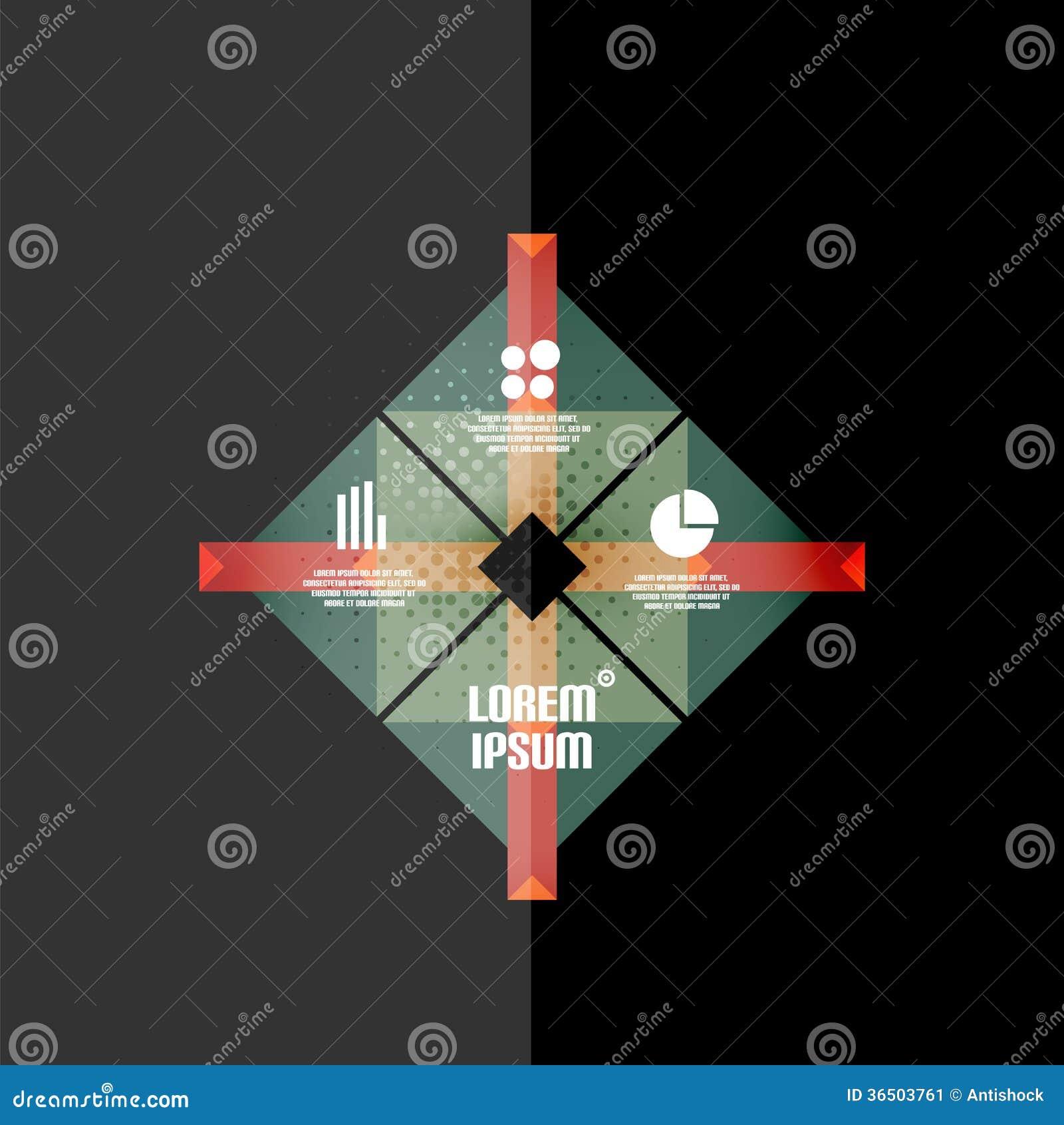 Rétro bannière infographic géométrique de vintage