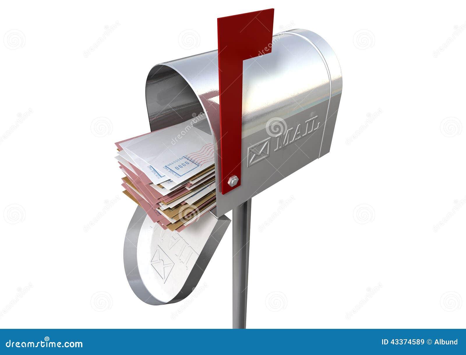 Rétro boîte aux lettres et pile blanche d enveloppe