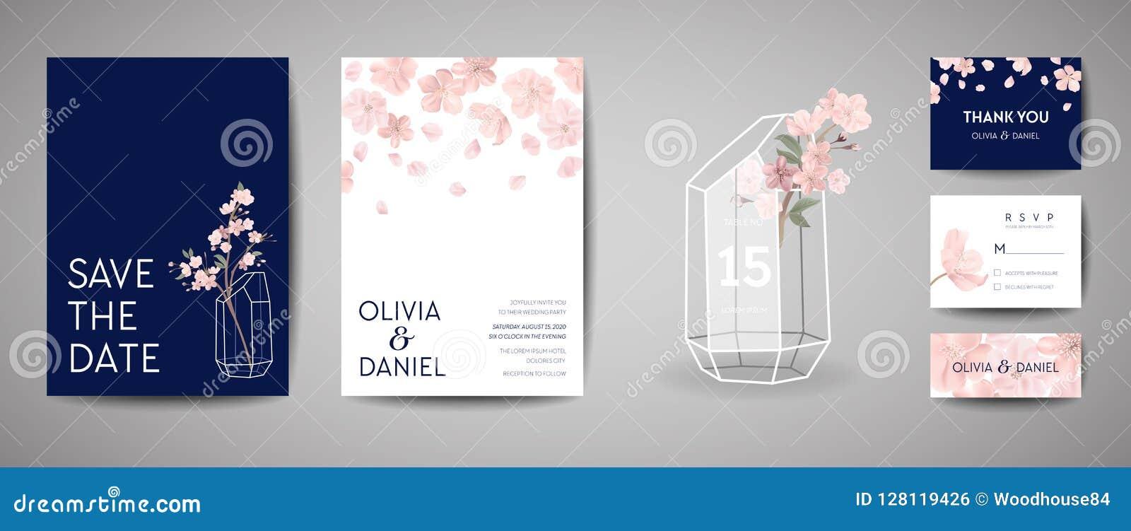 Rétro carte botanique d invitation de mariage, économies de vintage la date, conception de calibre des fleurs de Sakura et feuill