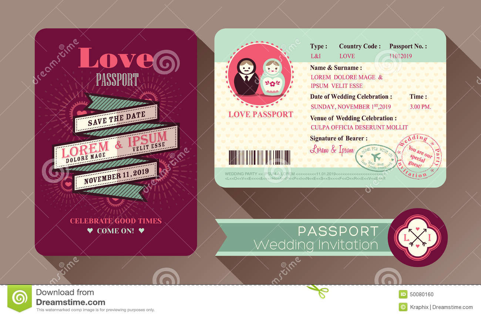 r tro carte d 39 invitation de mariage de passeport de visa. Black Bedroom Furniture Sets. Home Design Ideas