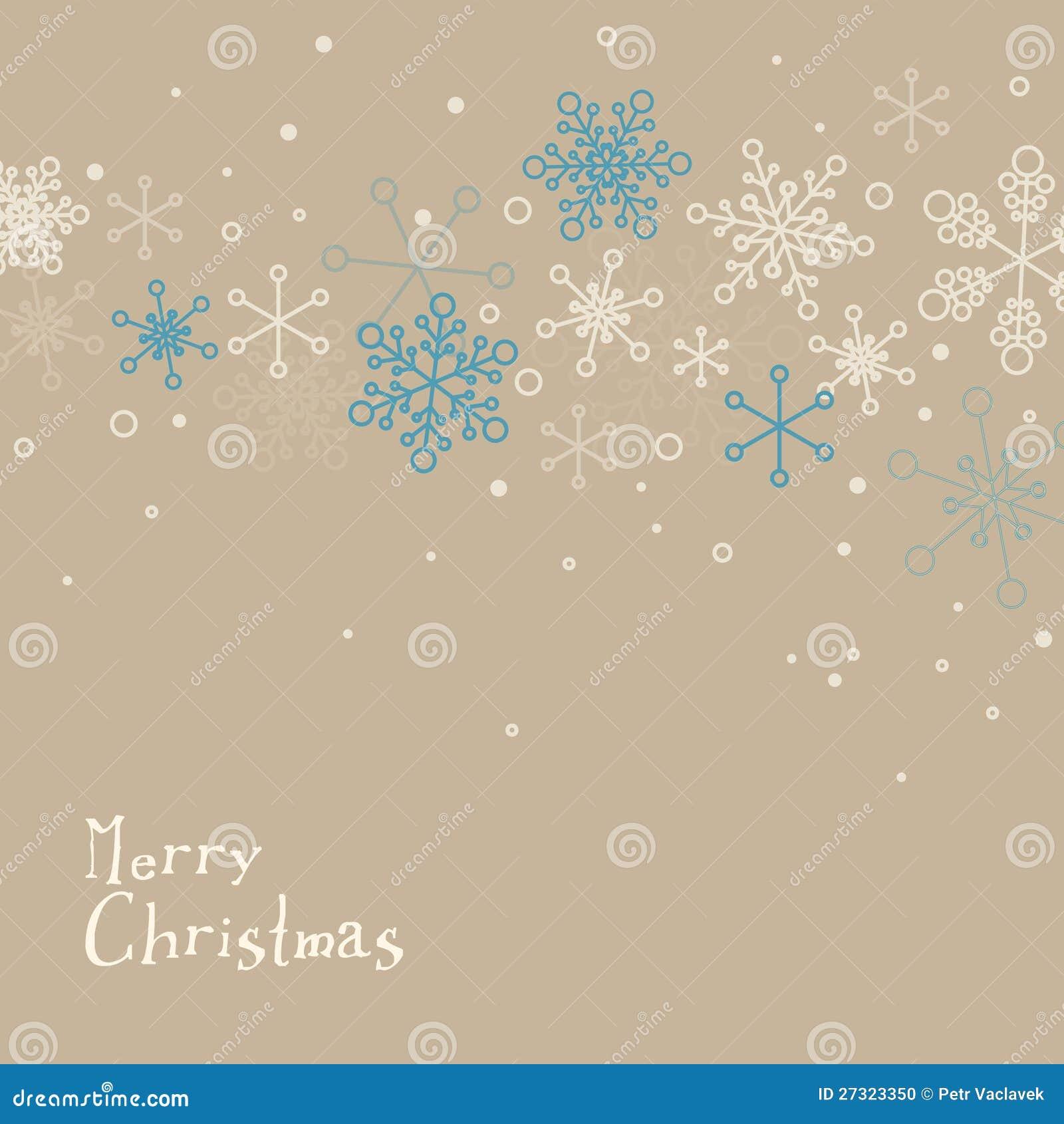 Retro Carte De Noel Simple Avec Des Flocons De Neige Illustration