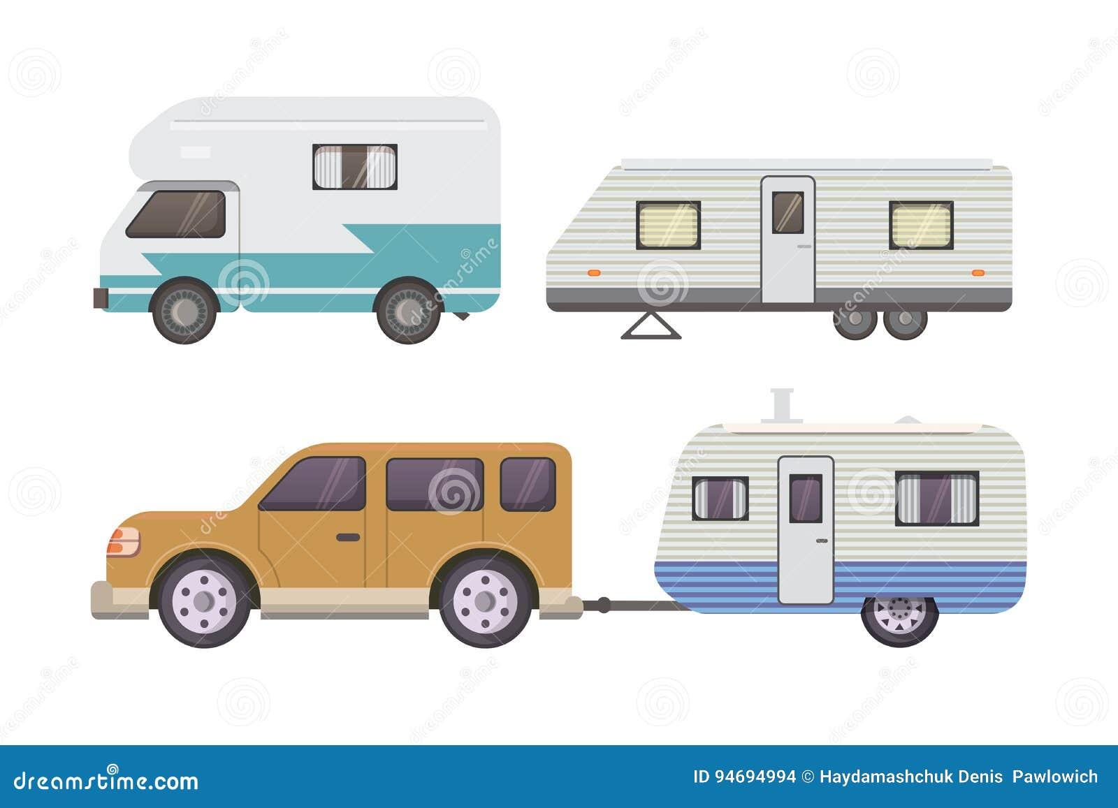 Rétro collection de remorque de campeur caravane de remorques de voiture tourisme