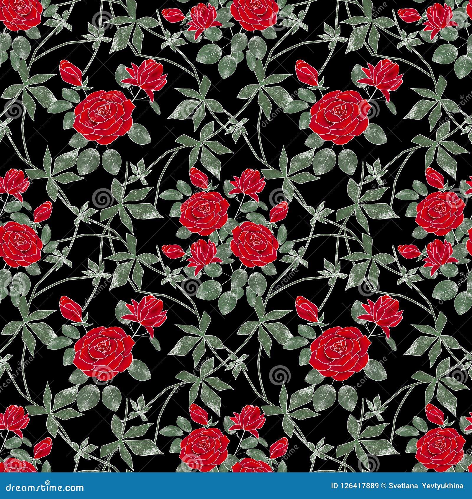 Rétro configuration florale sans joint Roses rouges sur un fond noir
