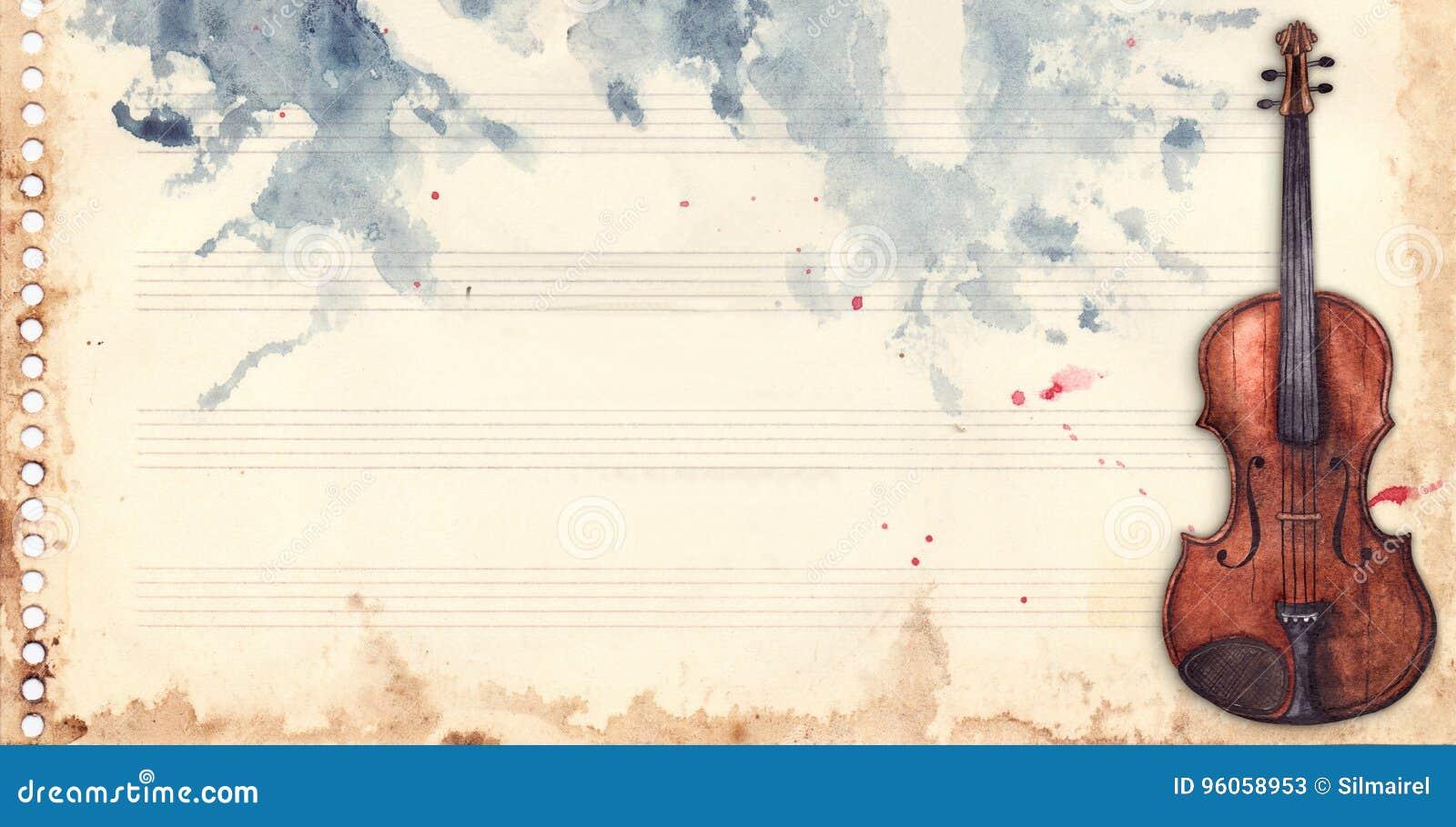 Rétro contexte de grunge de texture de fond de cadre d instrument de musique de violon de feuille de musique d aquarelle de vinta