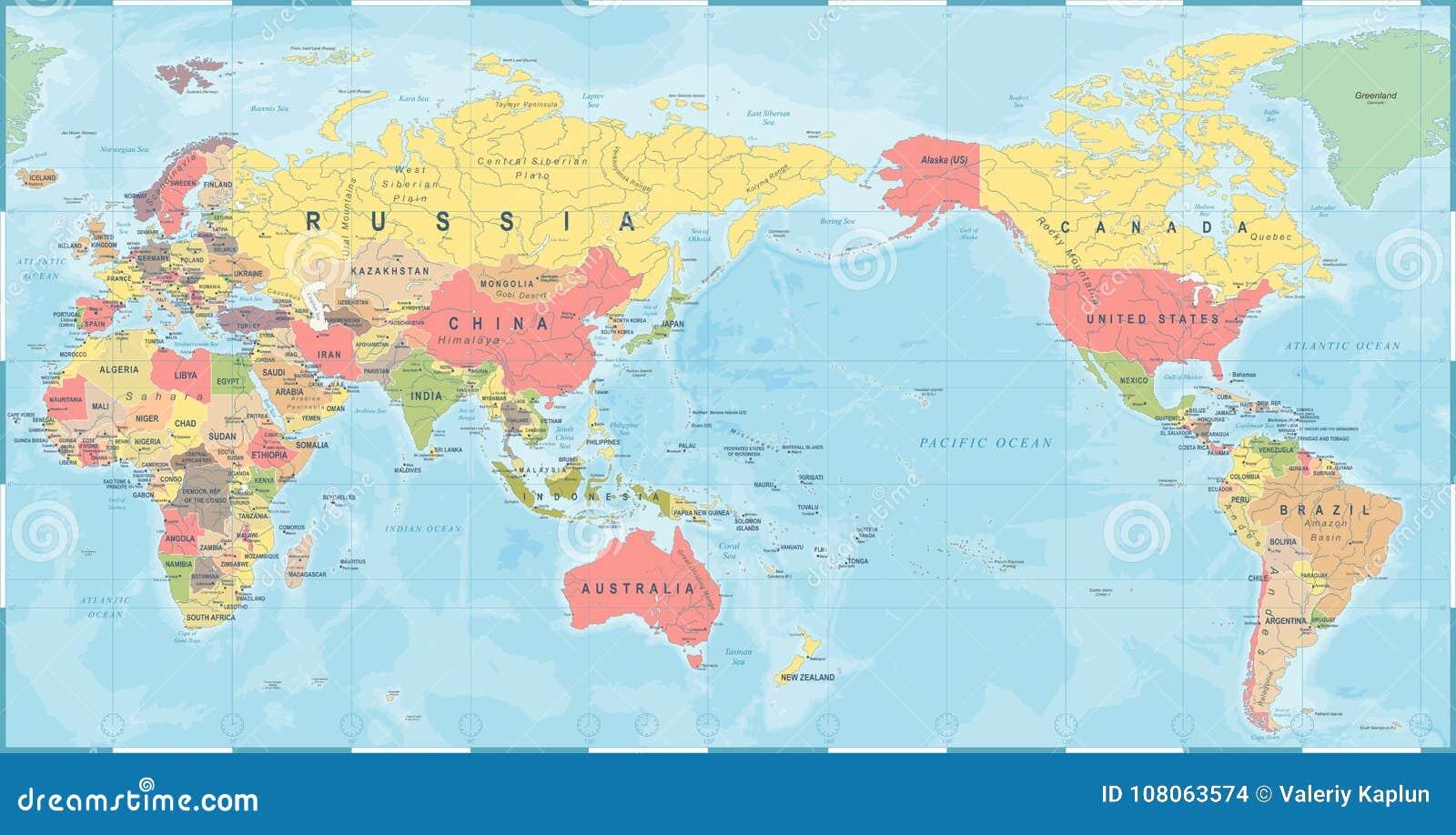 Carte Asie Monde.Retro De Vintage De Carte Du Monde Vieux L Asie Au Centre
