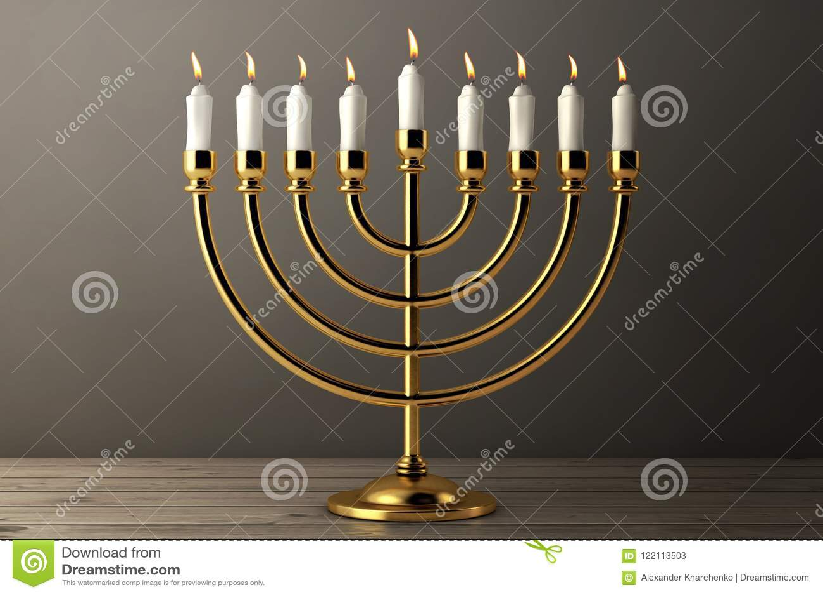Rétro Hanoucca d or Menorah avec les bougies brûlantes rendu 3d
