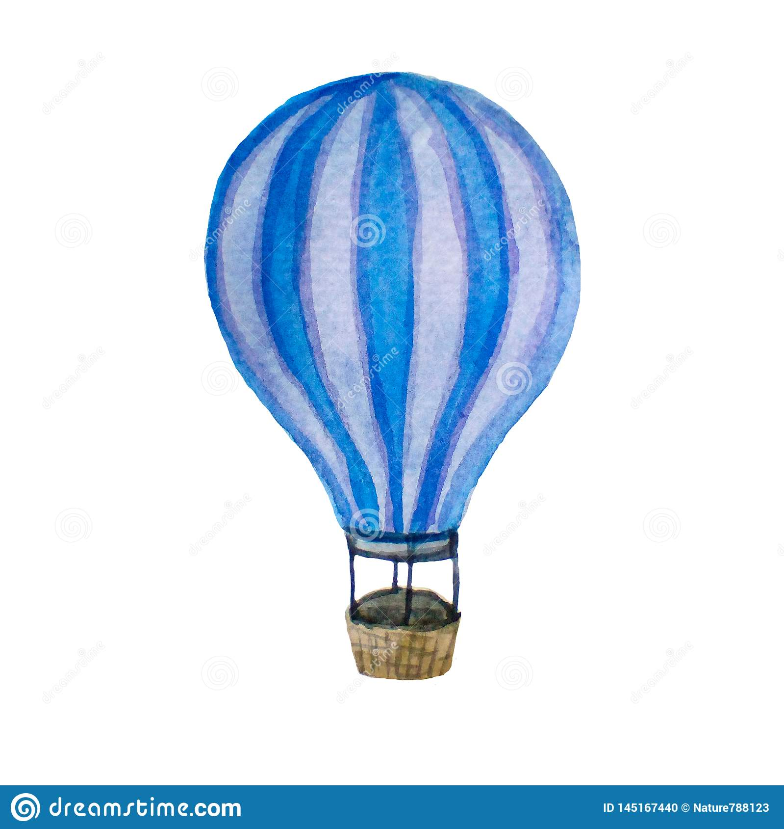 Rétro illustration d aquarelle de ballon d air chaud de cru d isolement sur le blanc