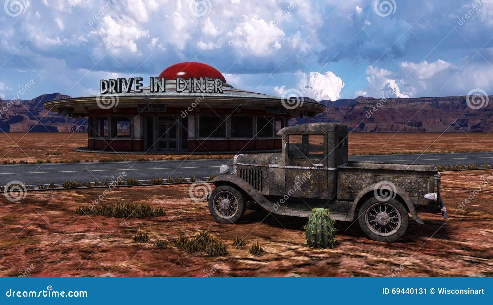 Rétro illustration de Route 66 de wagon-restaurant