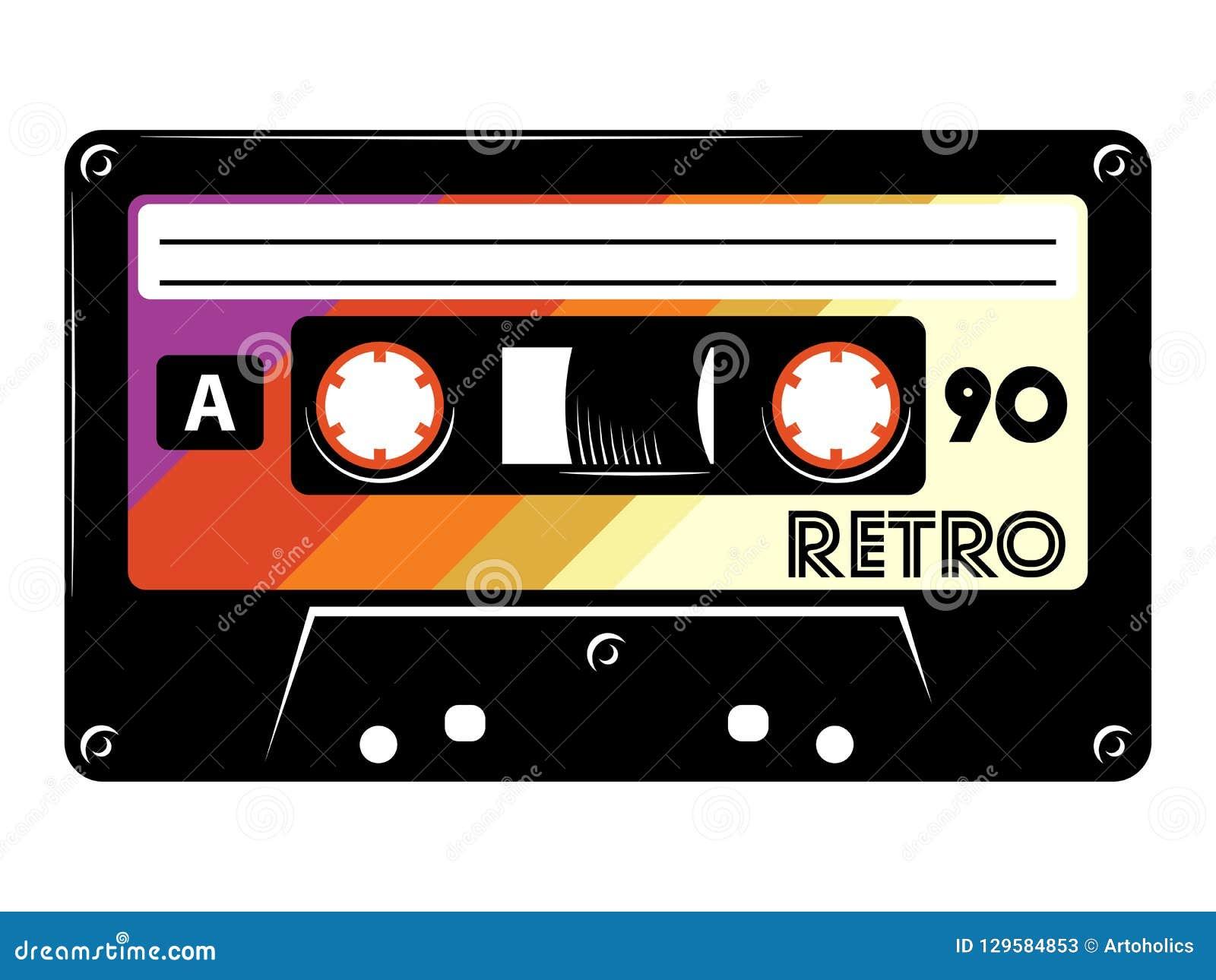 Rétro illustration de vecteur d enregistreur à cassettes de cru sur le fond blanc