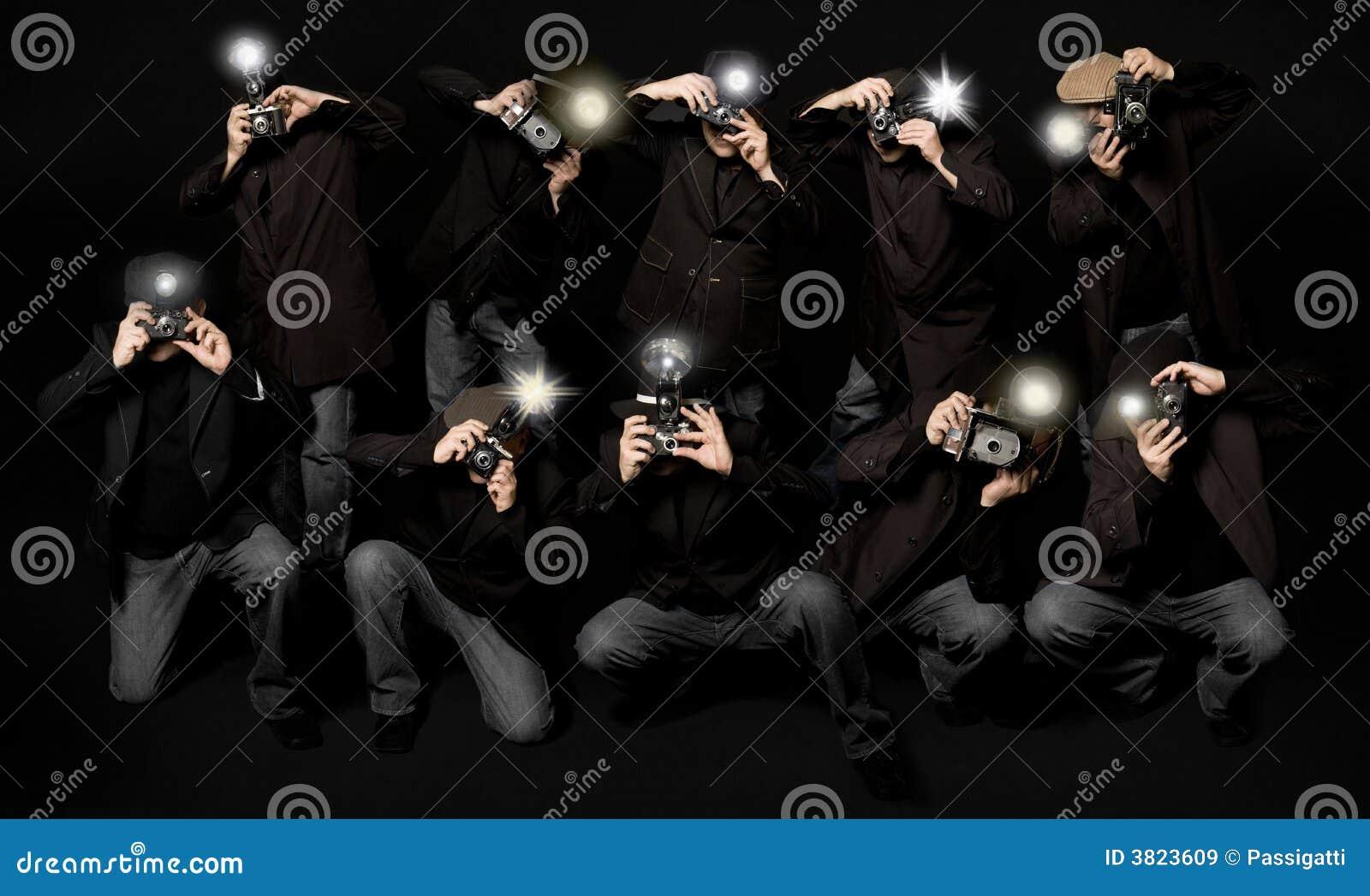Rétro journalistes de paparazzi de type