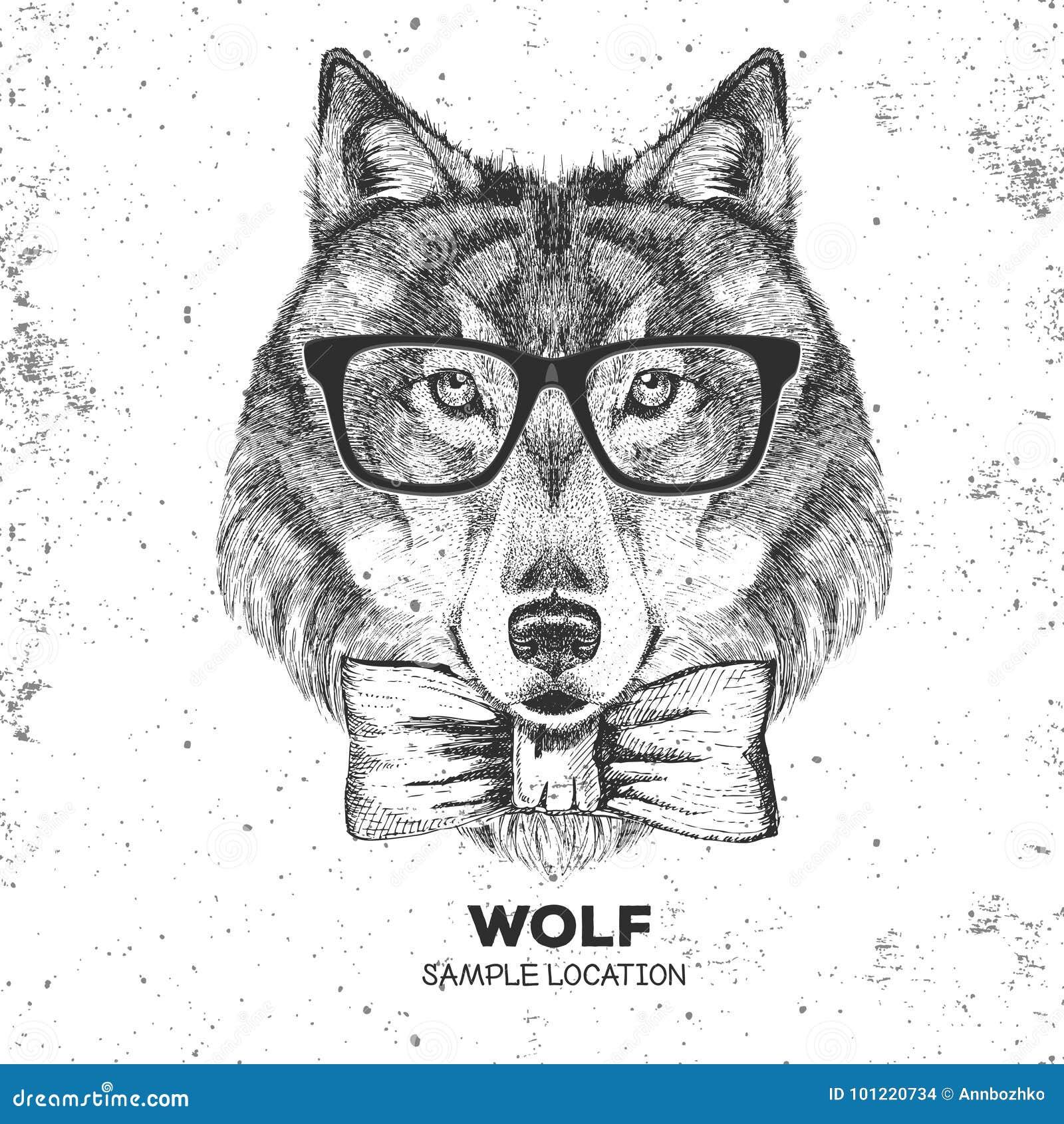 Retro Loup D Animal De Hippie Museau De Dessin De Main De Loup