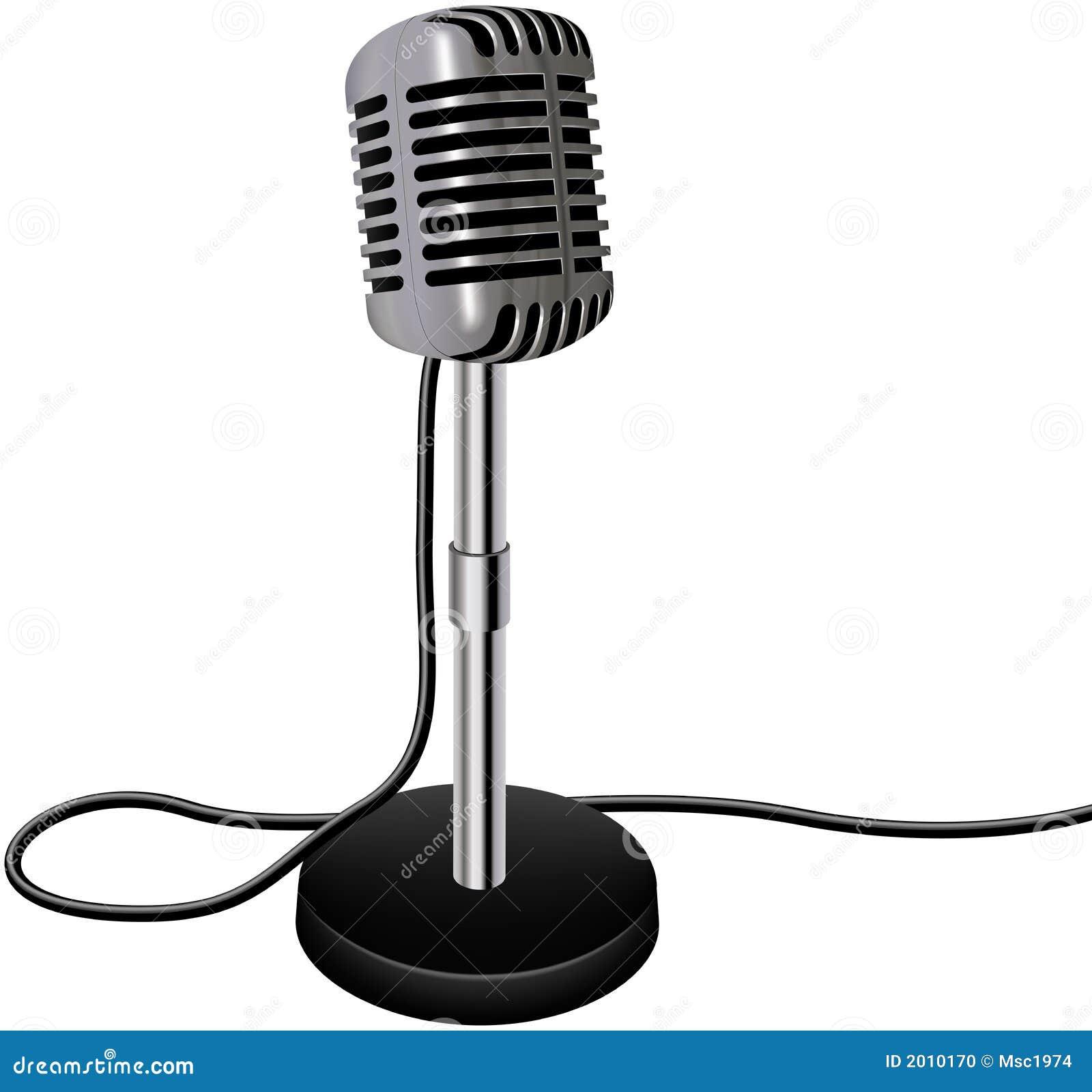Rétro microphone de vecteur de cru d isolement sur le fond blanc