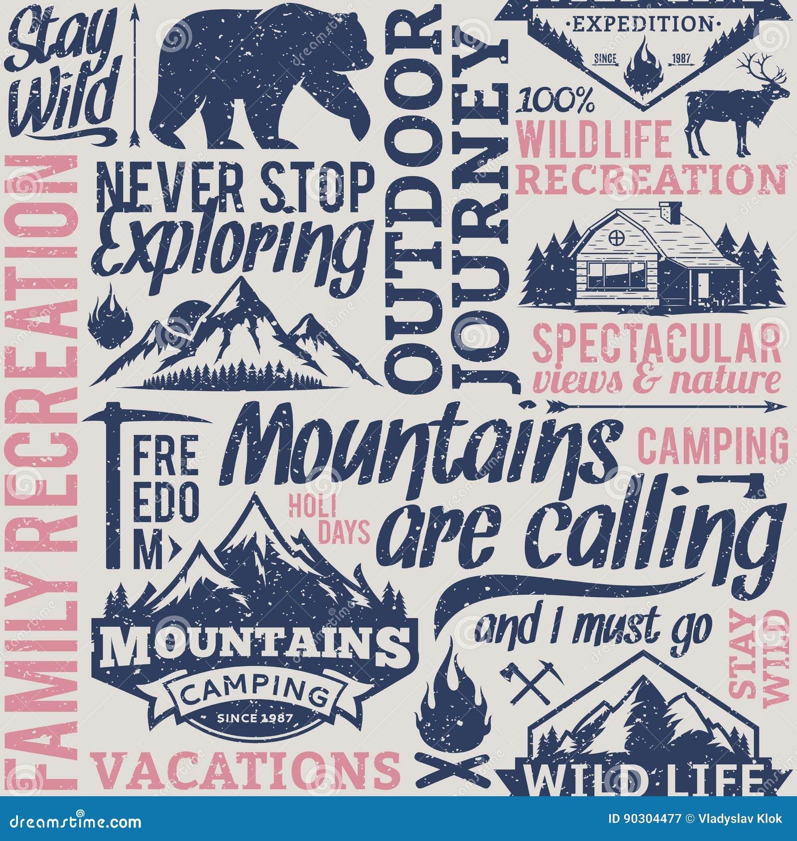 Rétro montagne typographique dénommée de vecteur et aventures extérieures