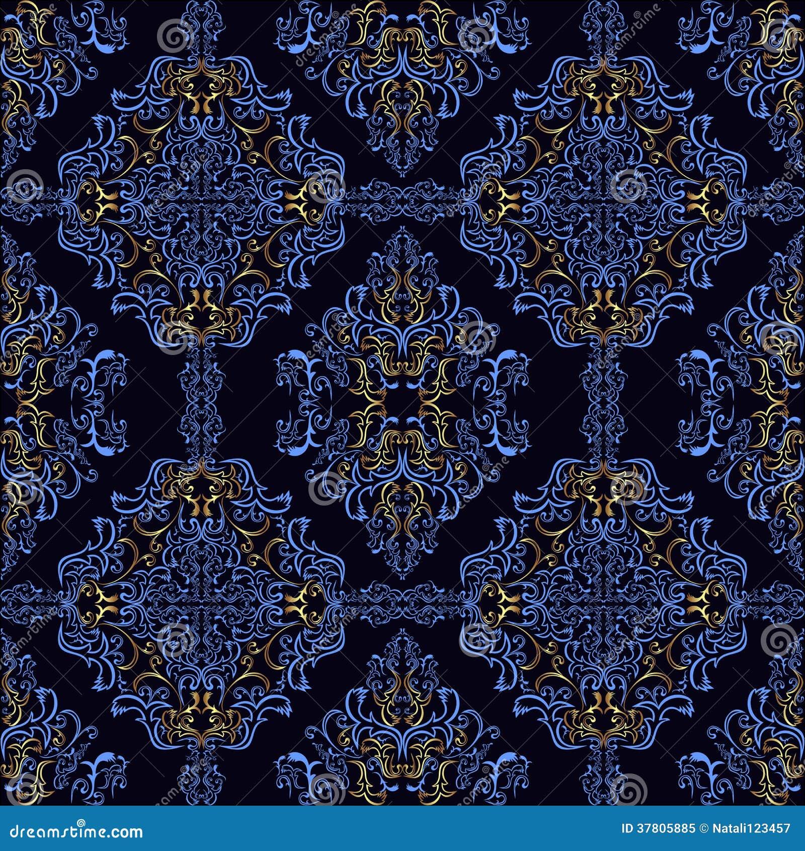 Retro Papier Peint Bleu Fonce Avec Les Elements D Or Illustration