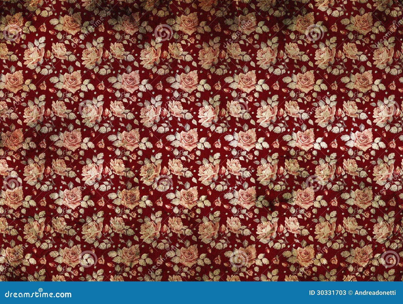 Retro Papier Peint De Bourgogne Avec Des Fleurs Image Stock Image