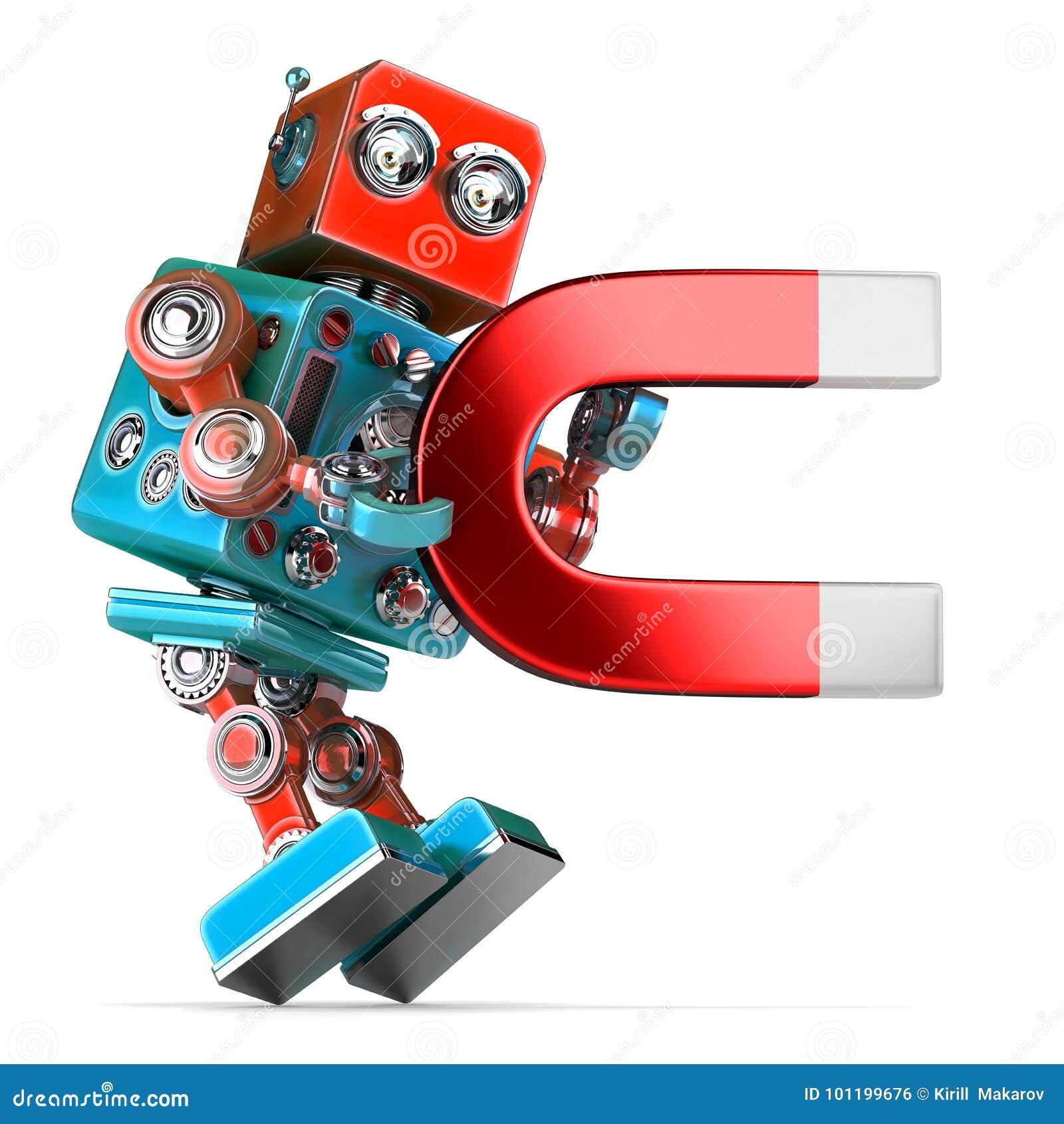 Rétro robot tenant un grand aimant illustration 3D D isolement escroc