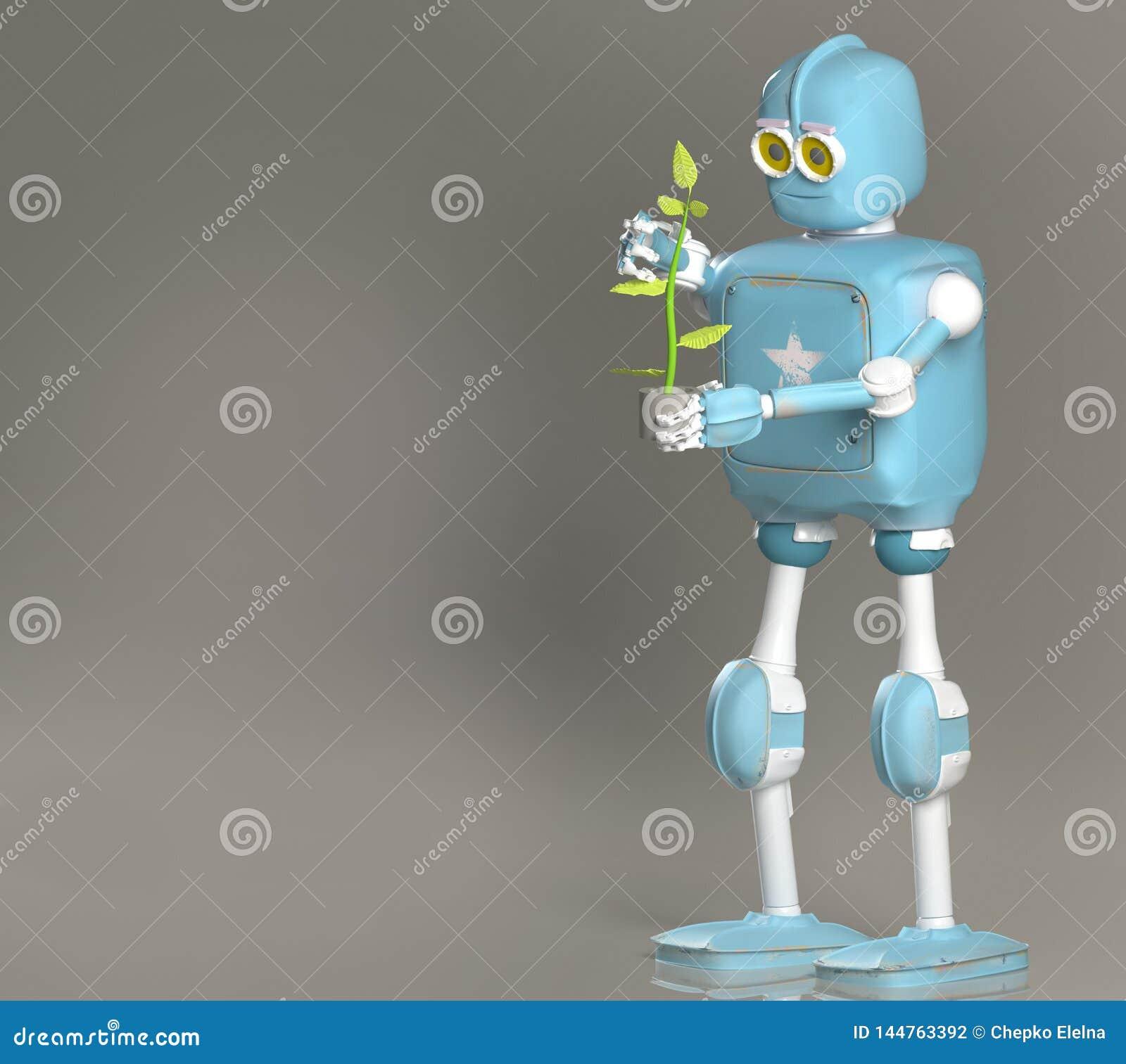 Rétro usine de prise de robot, droid avec la pousse, 3d rendre