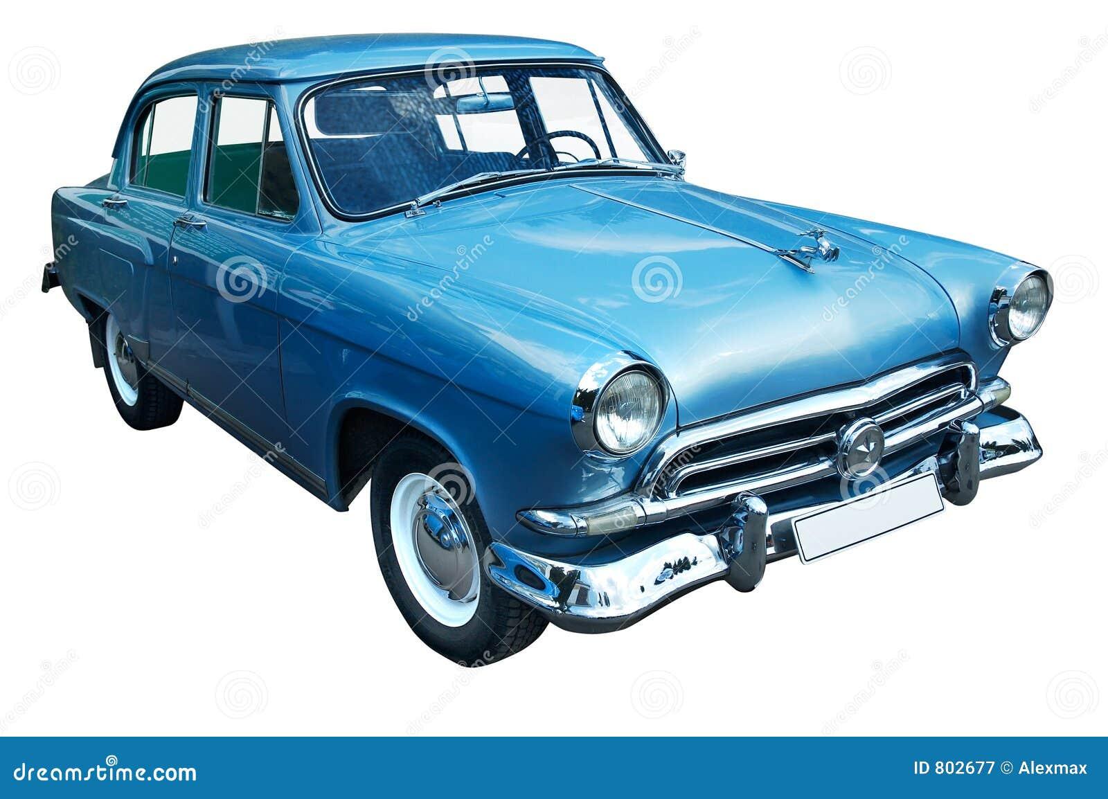 Rétro véhicule bleu classique d isolement