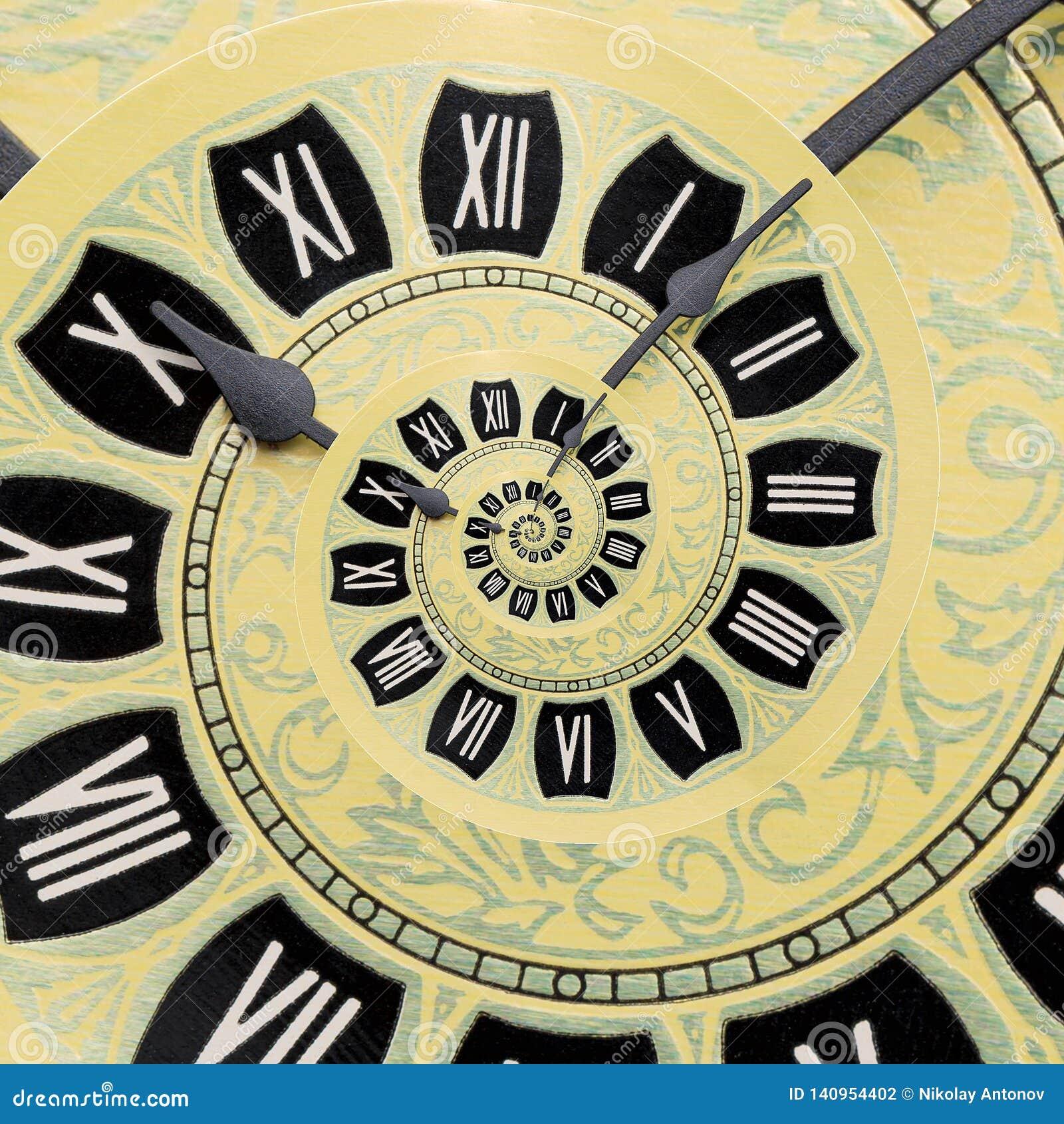 Rétro vieux fond jaune d abrégé sur spirale d horloge Fond antique de fractale d horloge Horloge surréaliste de spirale de temps