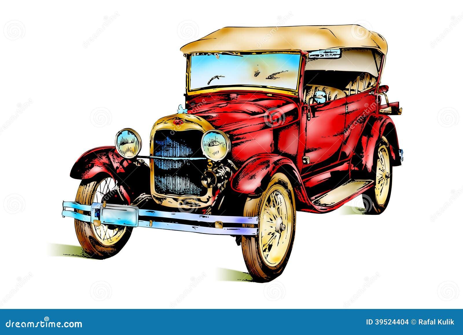 R tro vintage de vieille voiture classique illustration stock illustration du exclusif chemin - Dessin vieille voiture ...