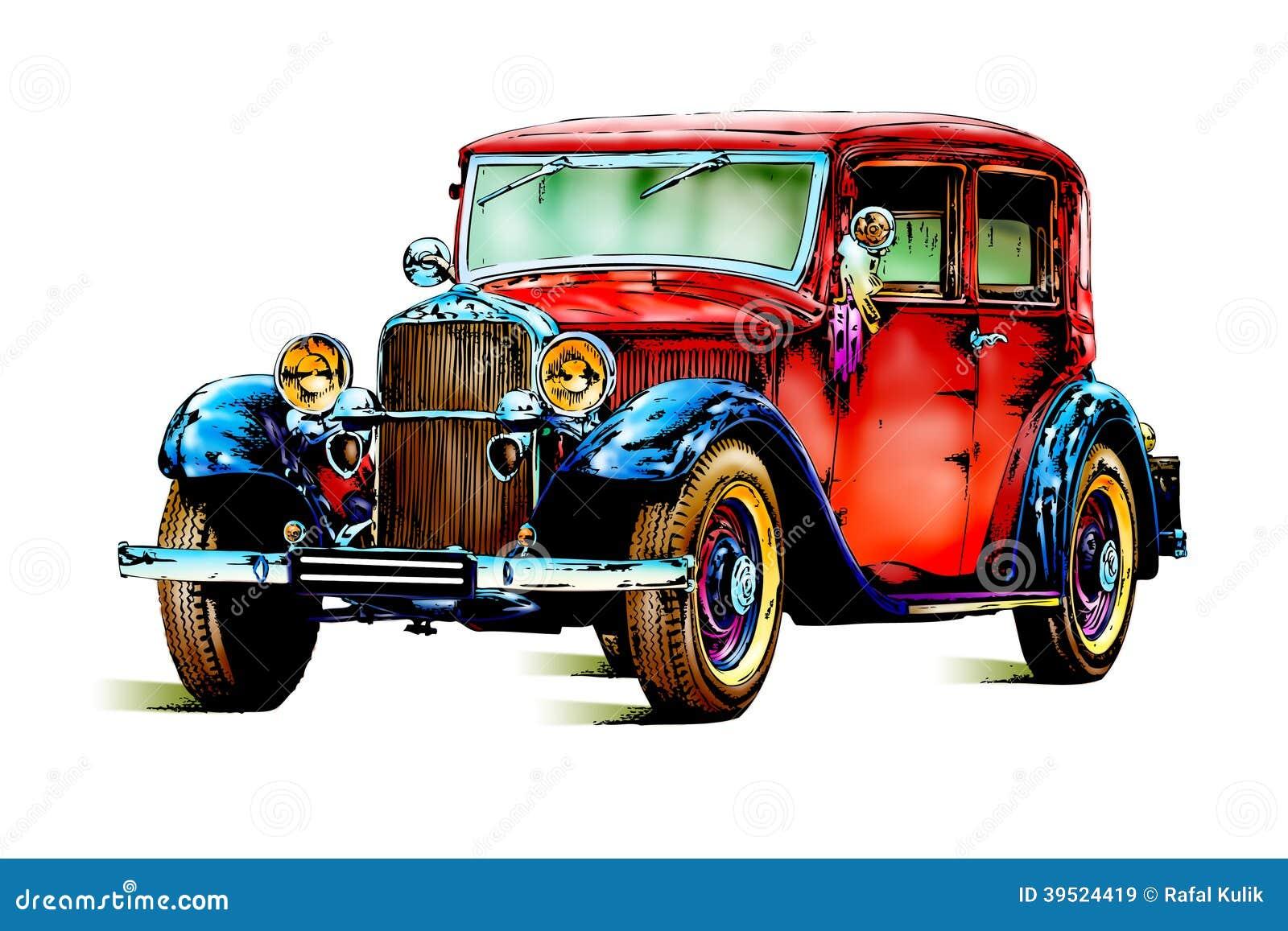 R tro vintage de vieille voiture classique illustration stock image 39524419 - Dessin vieille voiture ...