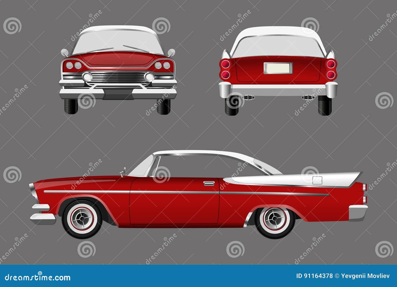 Rétro voiture rouge sur le fond gris Cabriolet de vintage dans un style réaliste Avant, côté et vue arrière