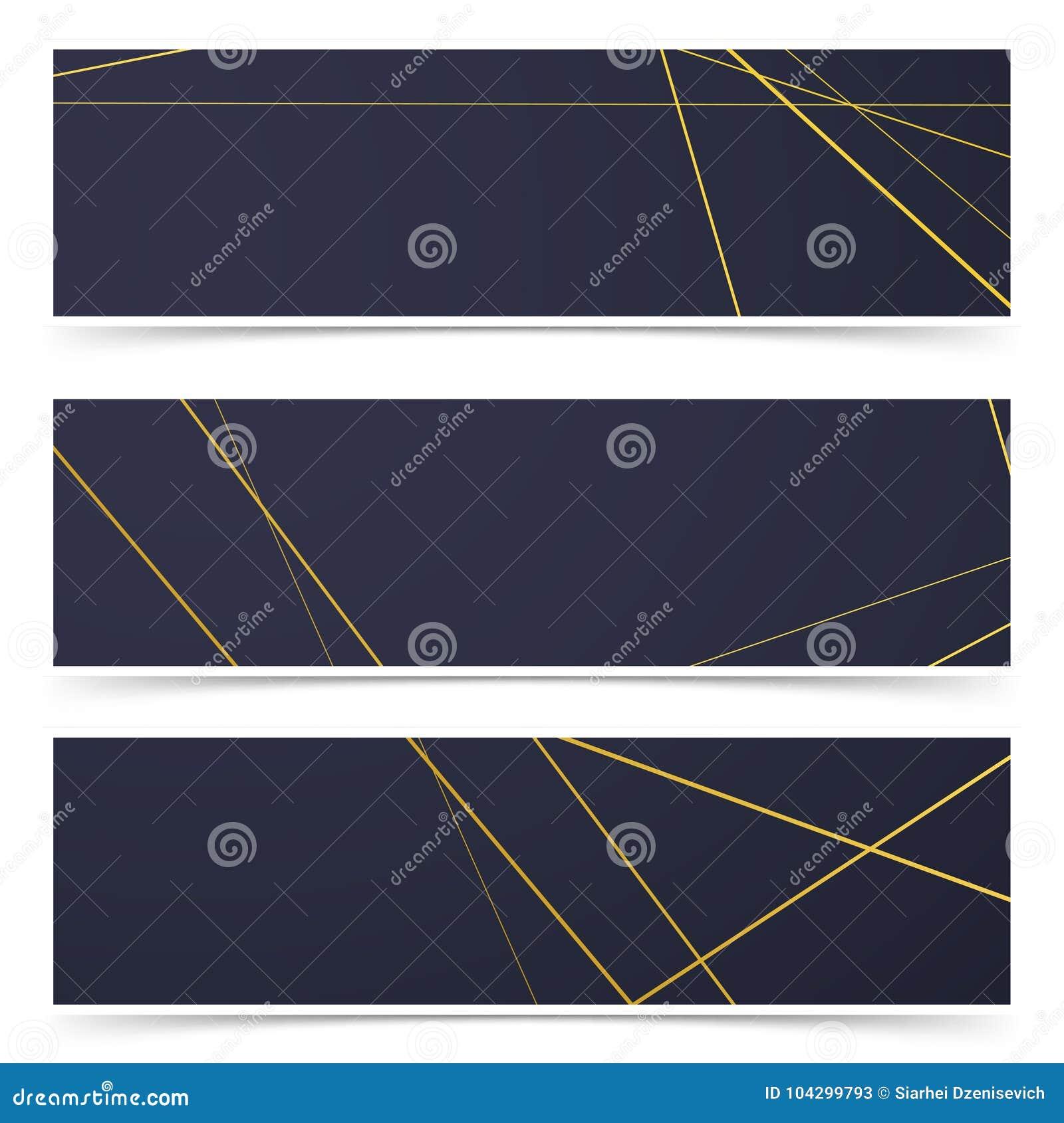Retro Collection De Bannieres Cartes Visite Professionnelle Modele Cadre Dart Deco Style En Liasse Metalliques Geometriques