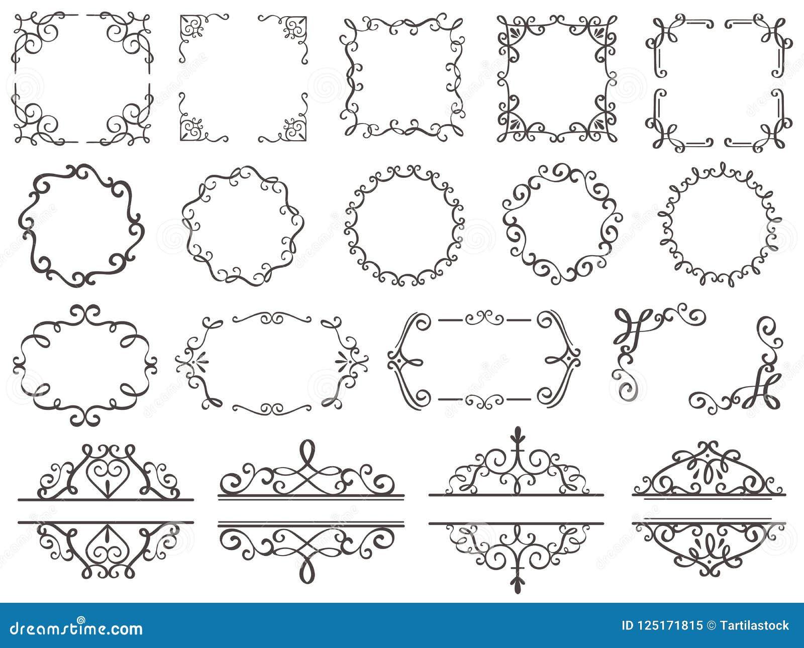 Rétros cadres de décoration Frontière en filigrane de remous de vintage, cadre décoratif élégant et éléments fleuris de classique