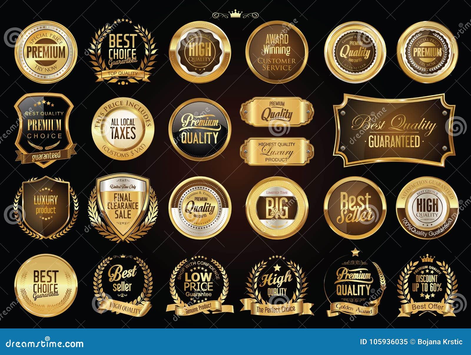Rétros insignes de luxe or et collection d argent