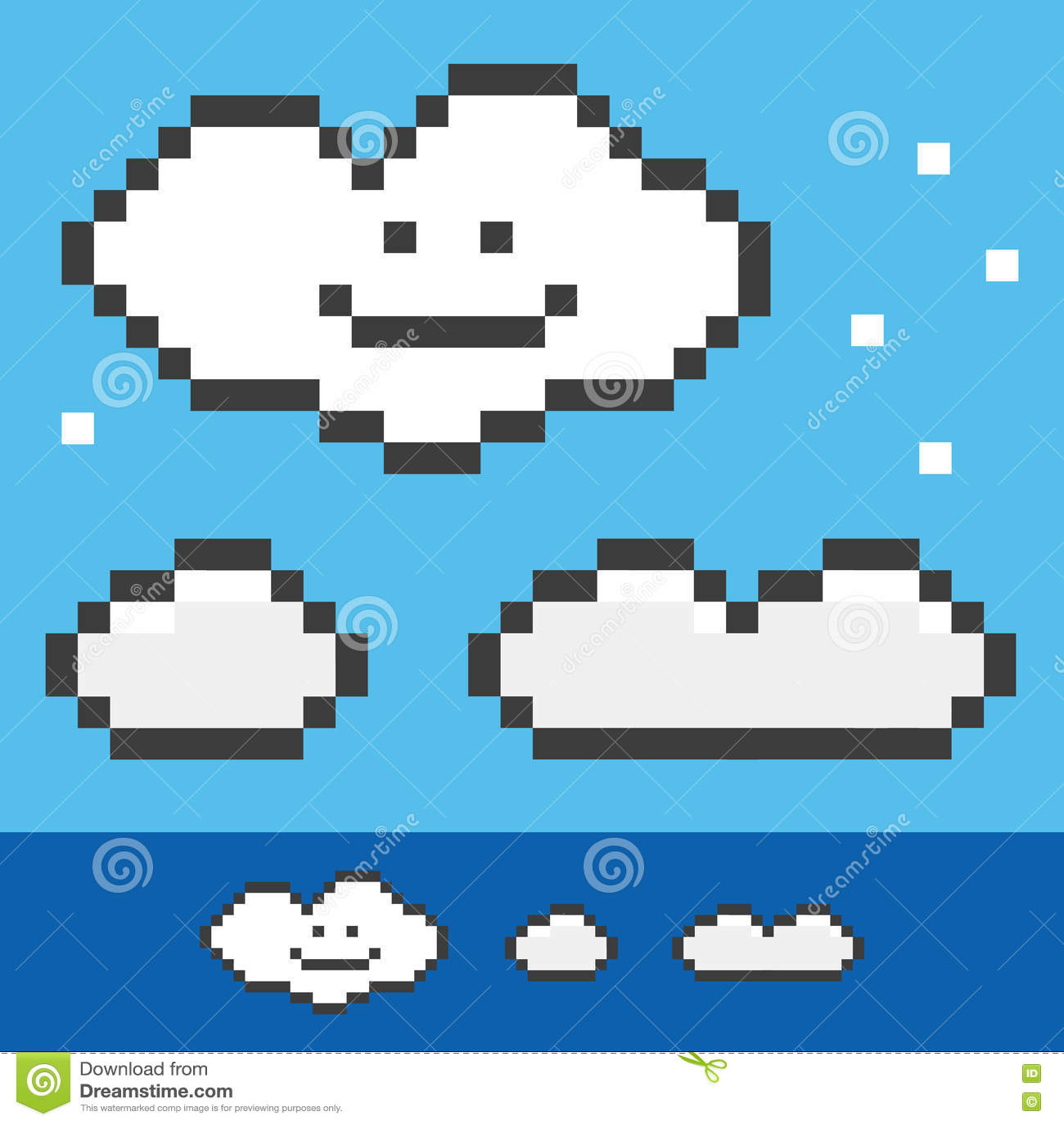 r tros nuages 8 bits de pixel r gl s collection illustration de vecteur illustration du. Black Bedroom Furniture Sets. Home Design Ideas