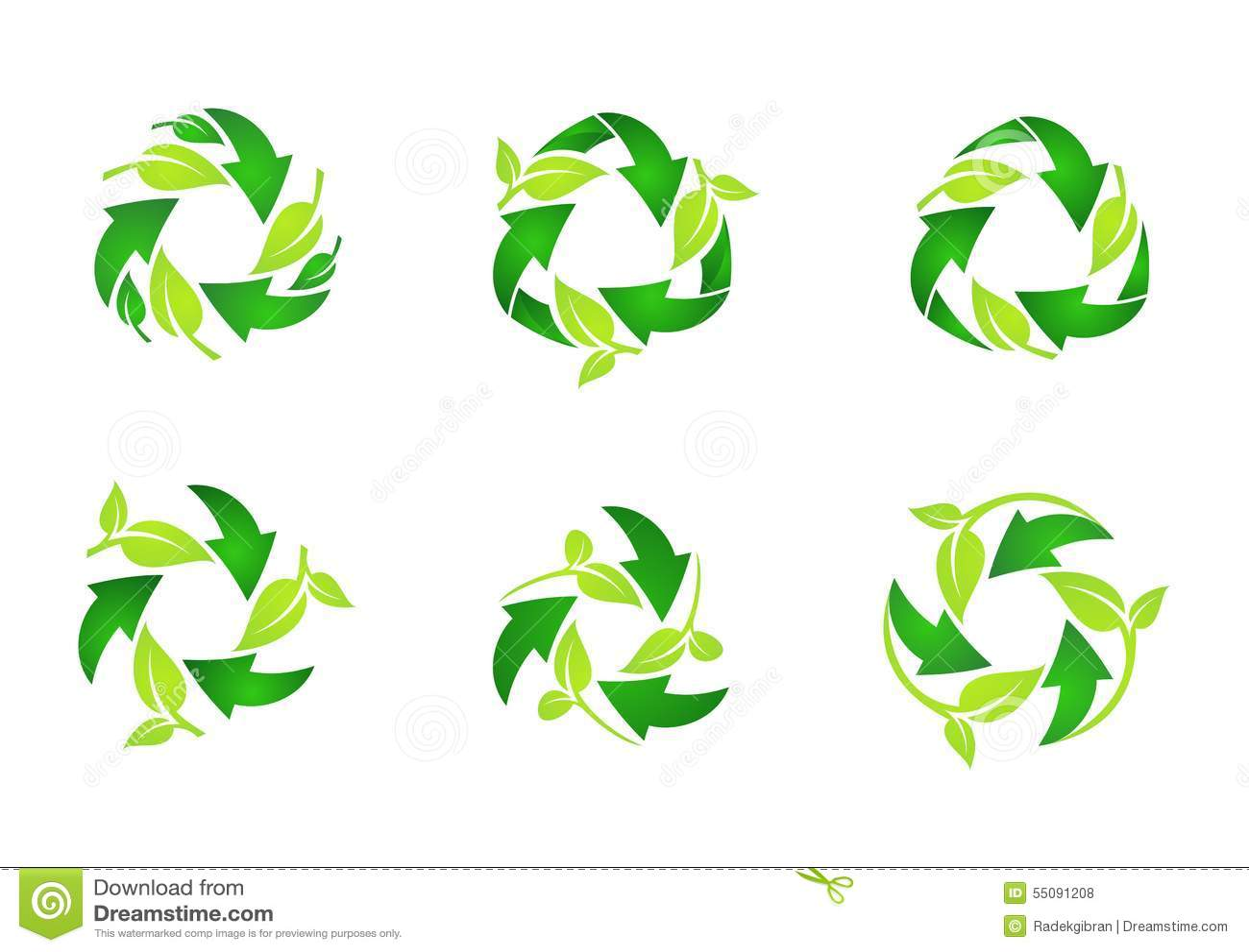 Réutilisez le logo, feuilles vertes naturelles de cercle réutilisant l ensemble de conception ronde de vecteur d icône de symbole