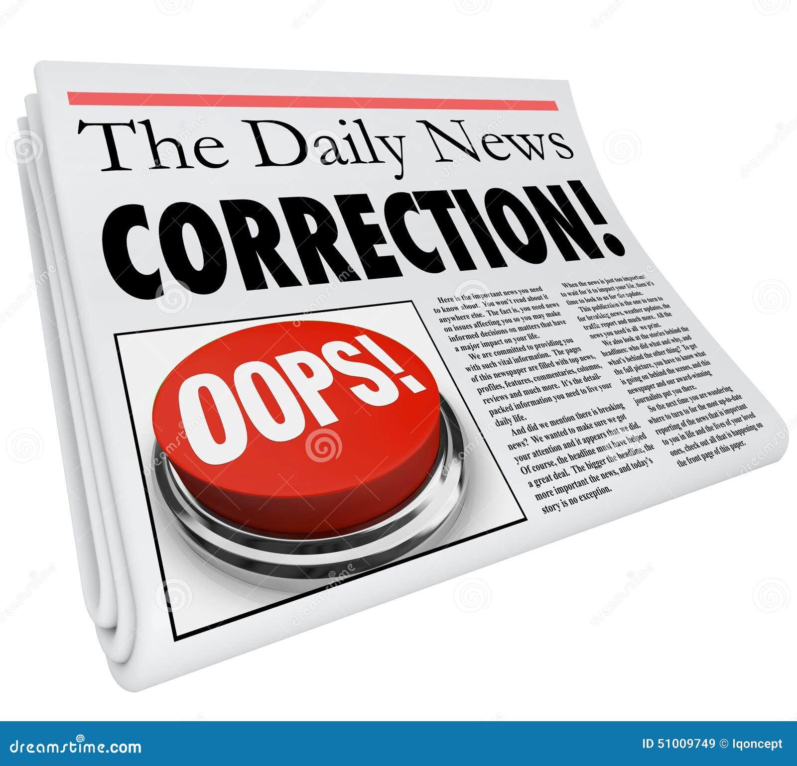 Révision de difficulté de reportage d erreur d erreur de journal de correction