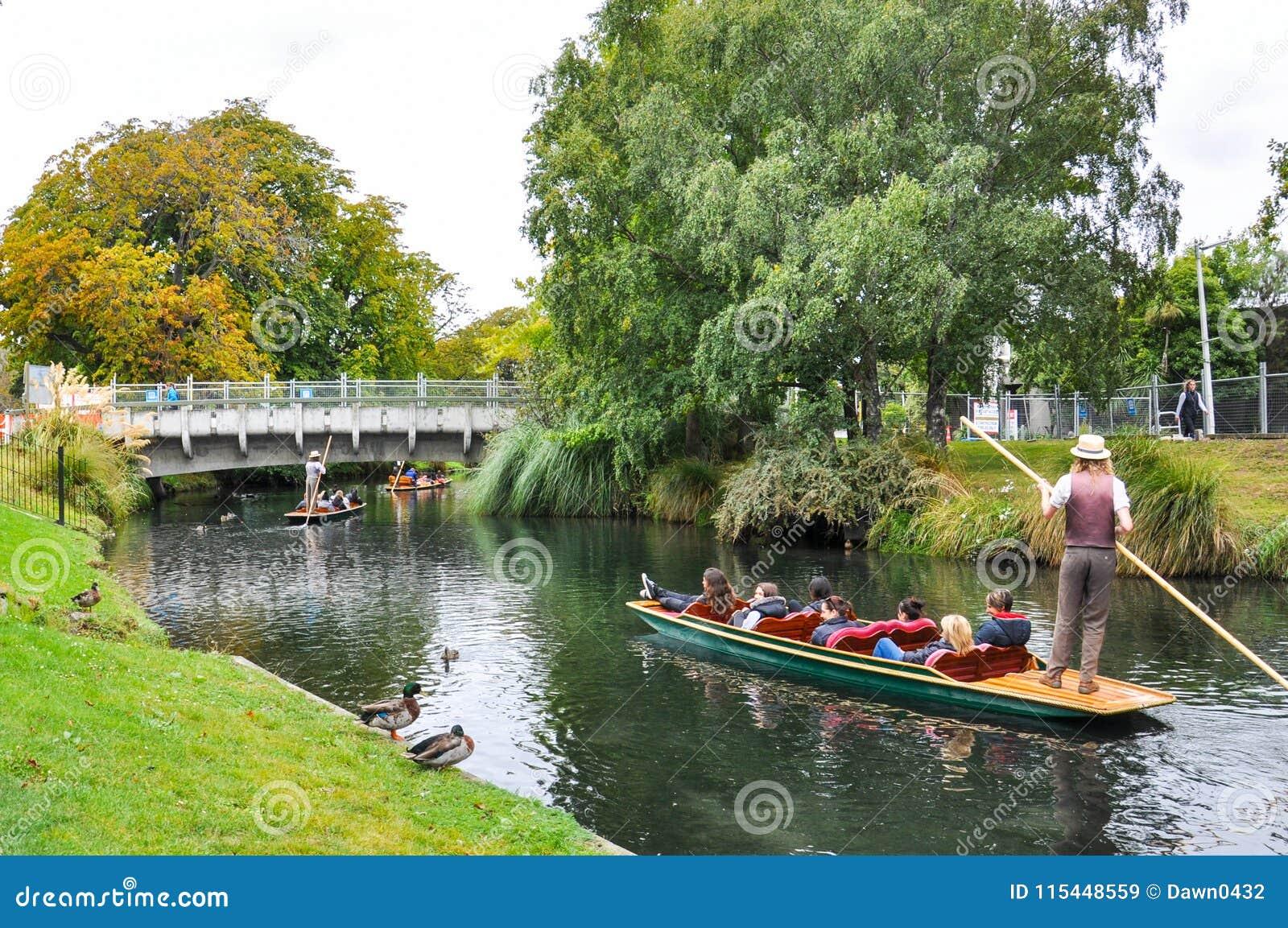 Río de Avon en Christchurch, Nueva Zelanda