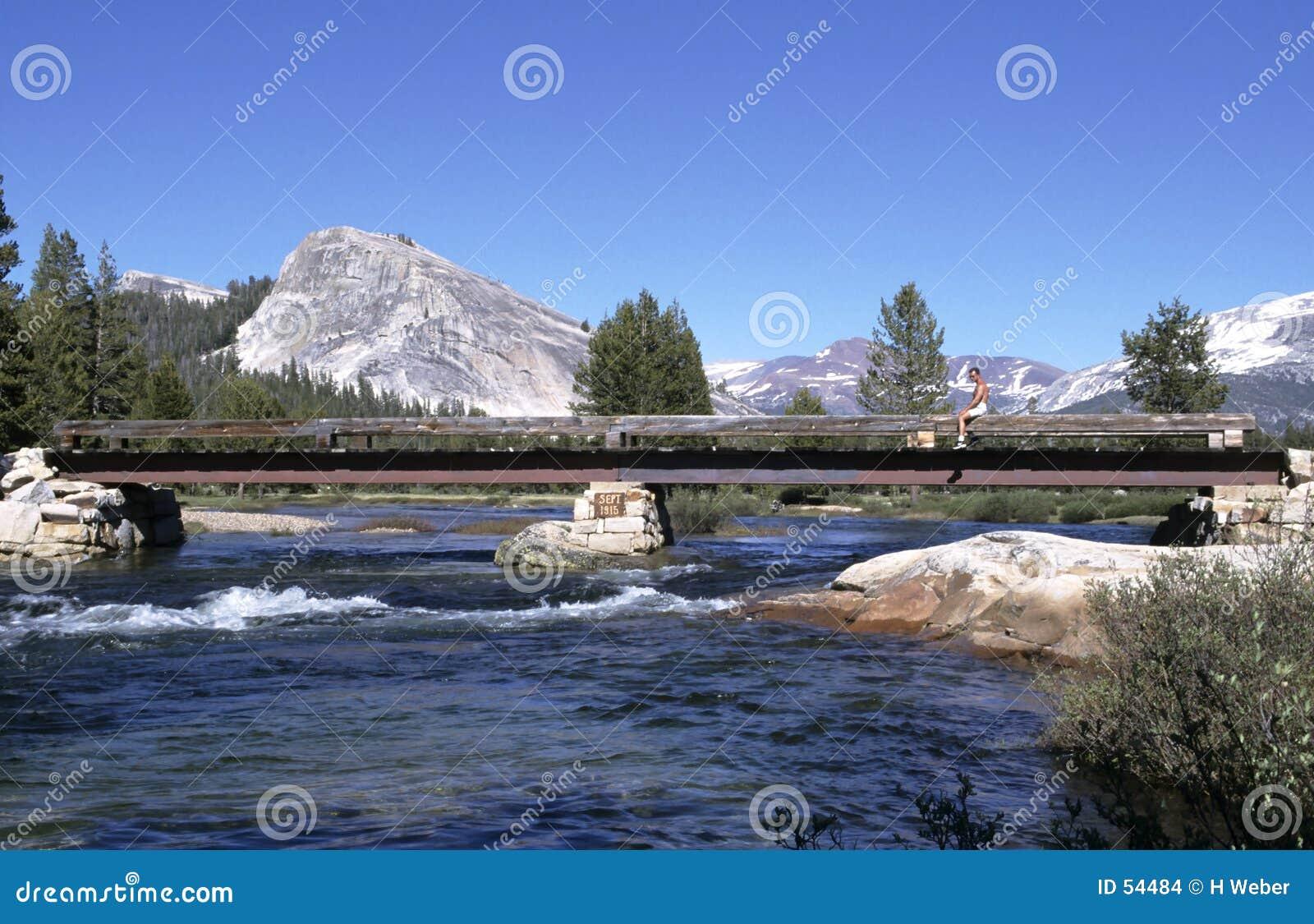Río de la montaña con el puente