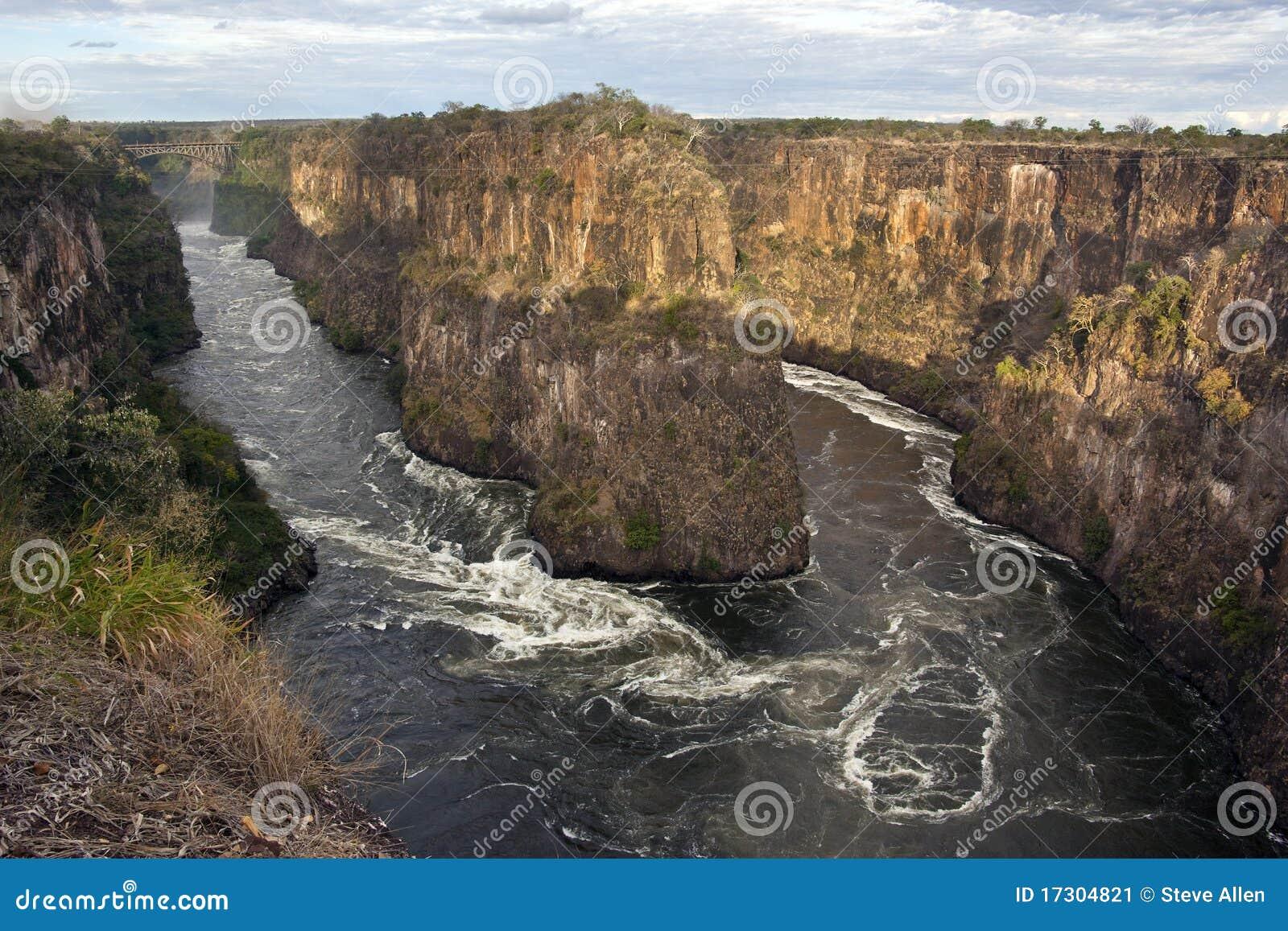 Río de Zambezi cerca de Victoria Falls