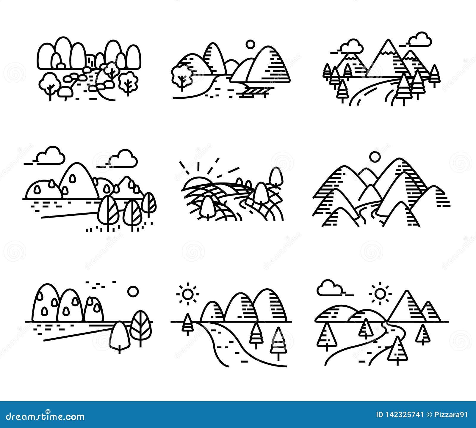 Río, montañas y sistema de los iconos de la naturaleza