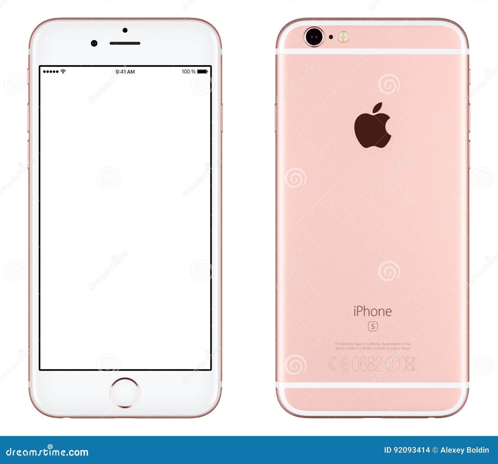 Różanego Złocistego Jabłczanego iPhone 6s mockup frontowy widok z biel parawanową i tylną stroną z Jabłczanym Inc logem