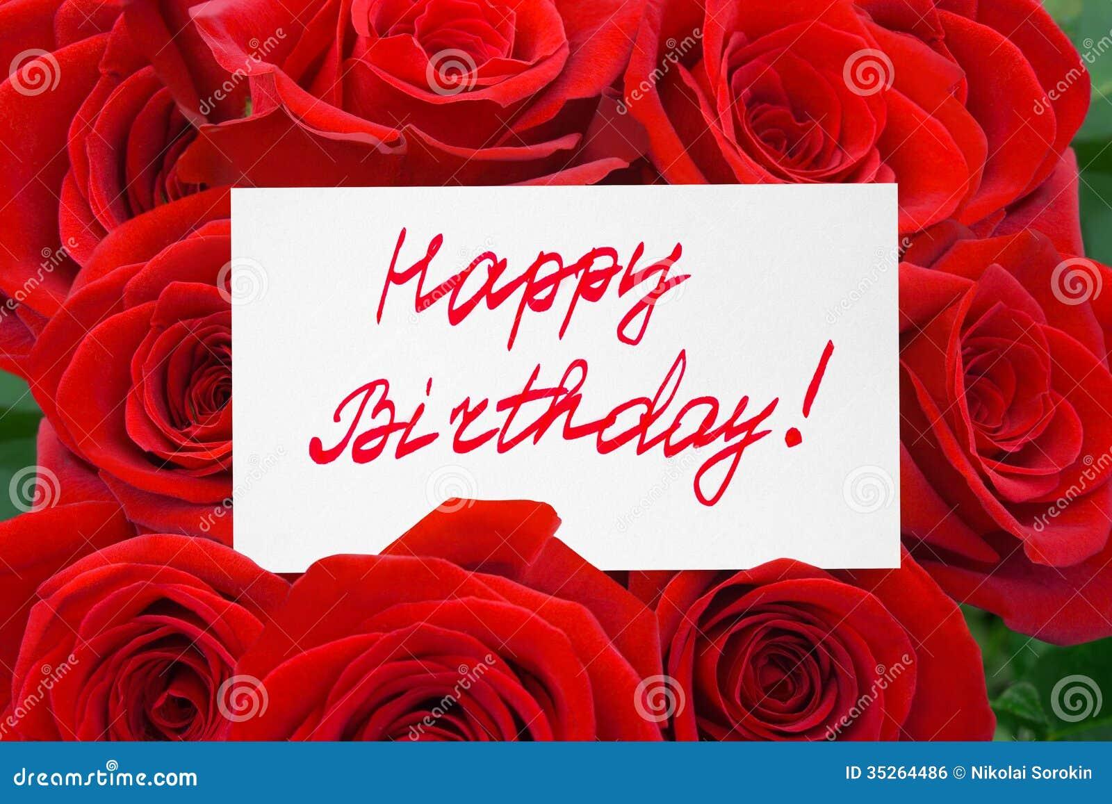 Róże i karciany wszystkiego najlepszego z okazji urodzin