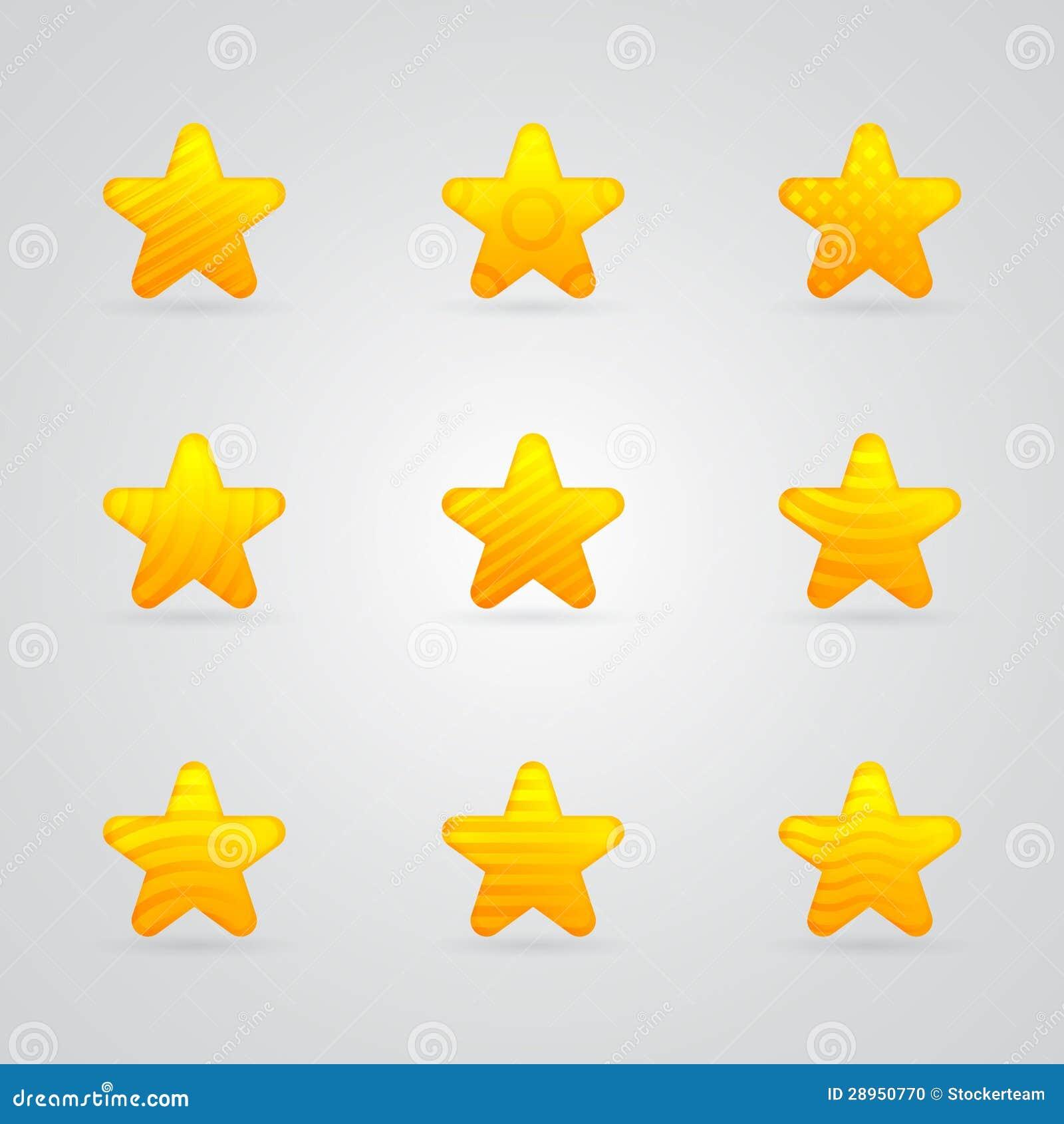Różne kolor żółty gwiazdy ikony ustawiać