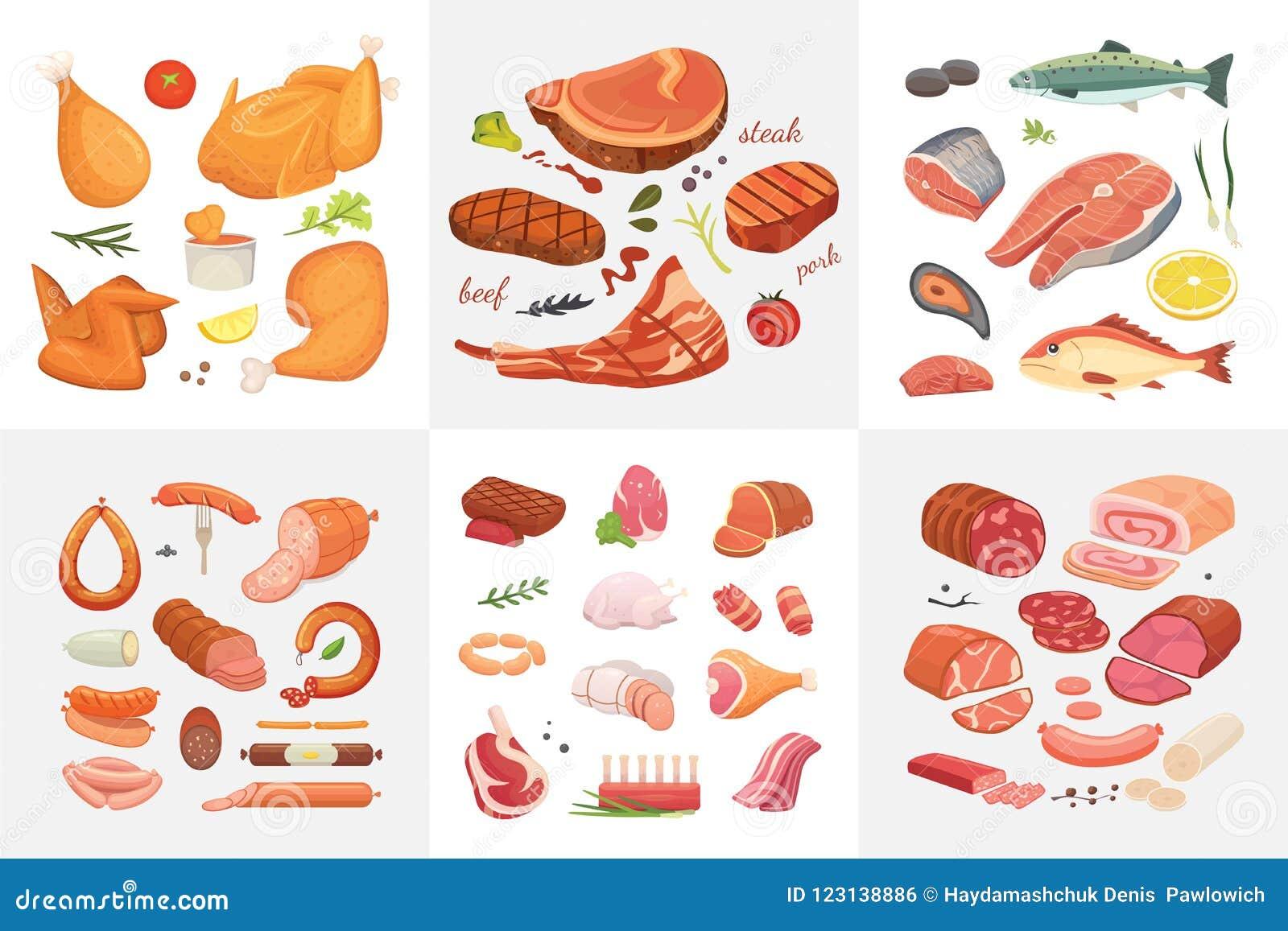 Różne mięsne karmowe ikony ustawiający wektor jakby Surowy baleron, setu grill chiken, kawałek wieprzowina, meatloaf, cała noga,