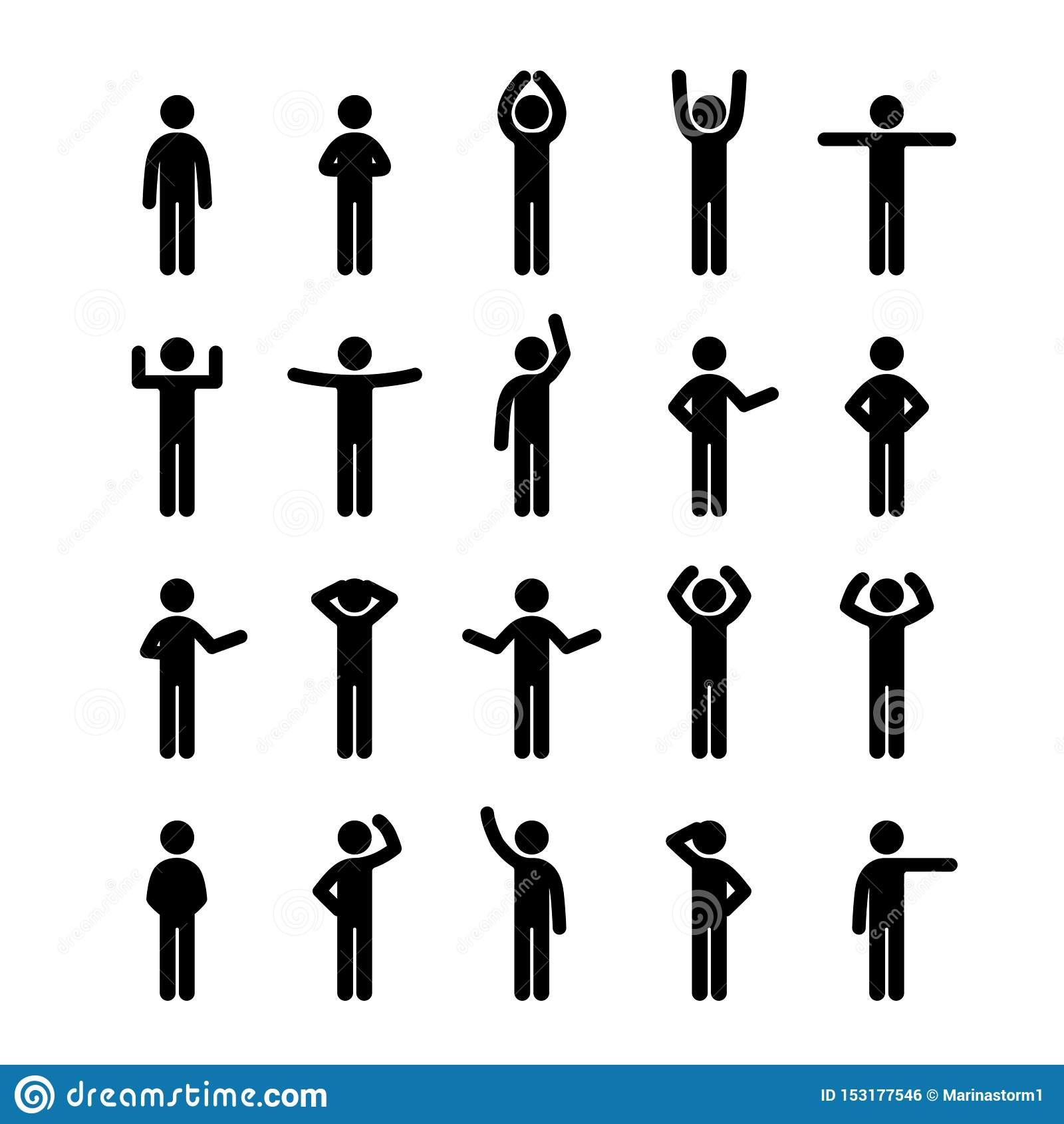 Różne pozy wtykają postać piktograma ikony setu ludzi Ludzki symbolu znak