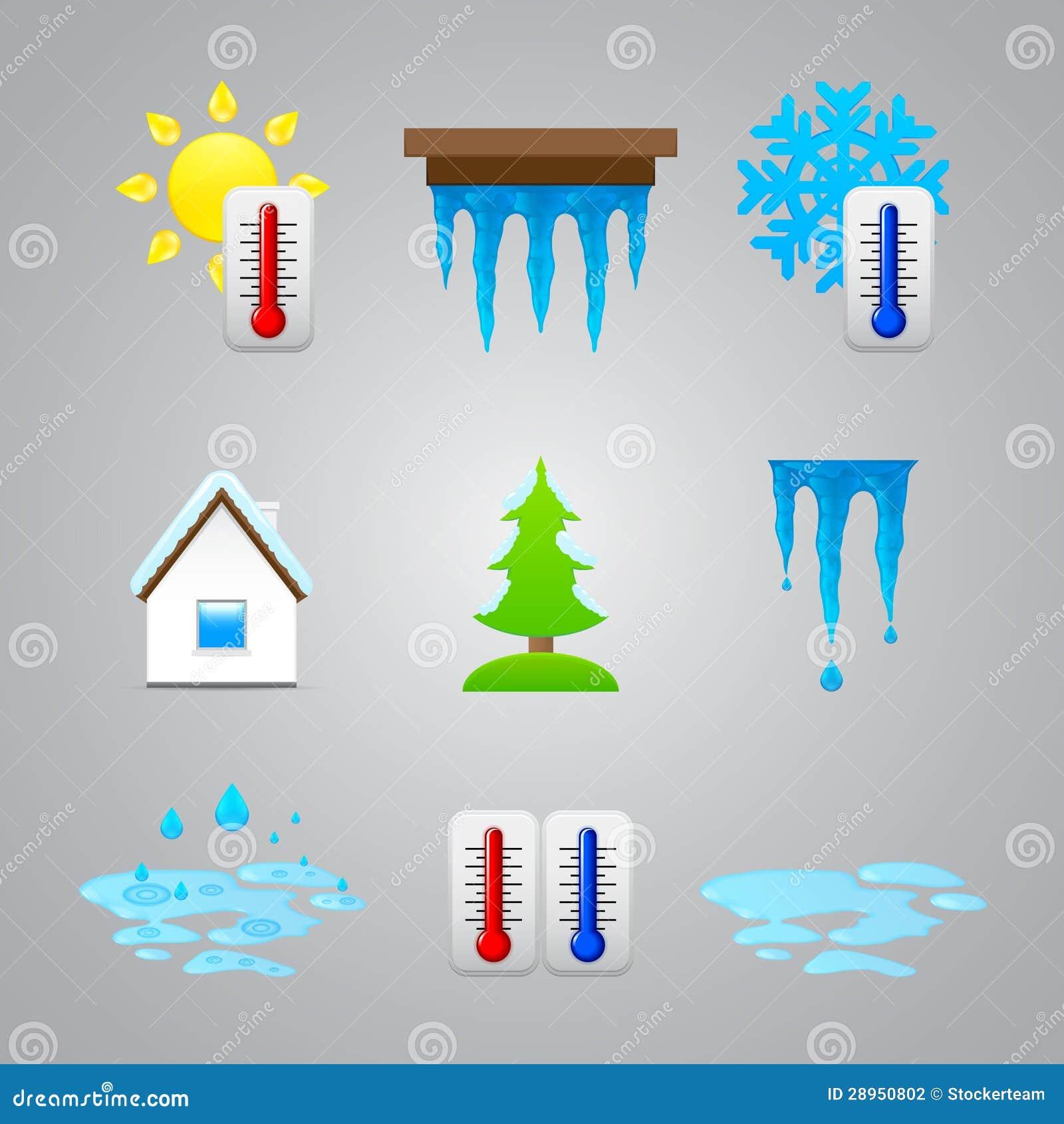 Różne temperaturowe kolor ikony