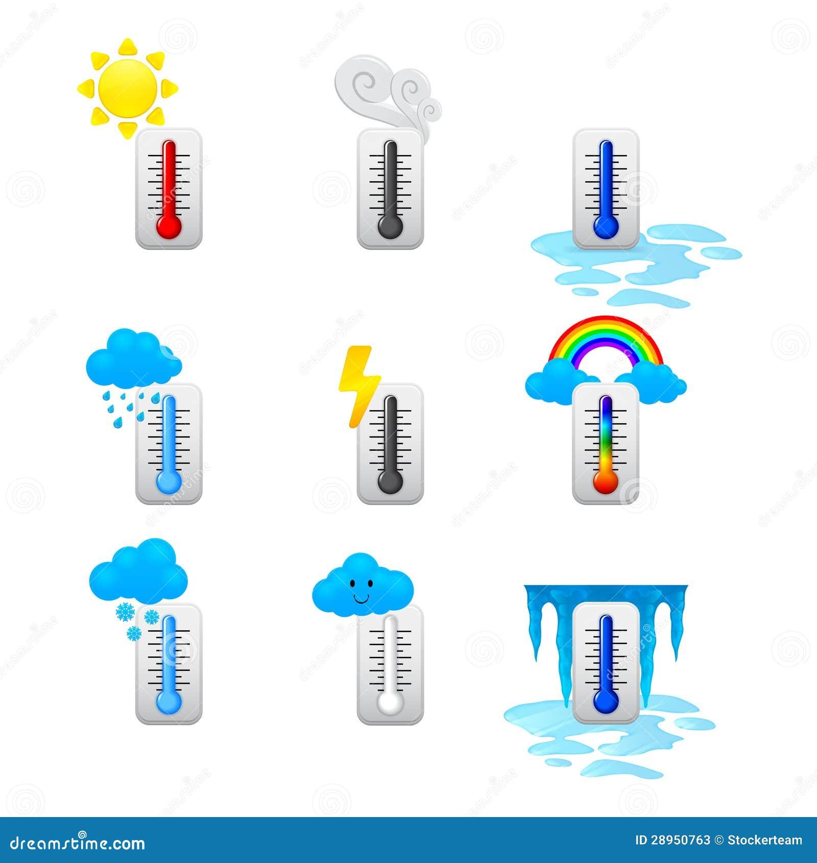 Różne termometr ikony ustawiać