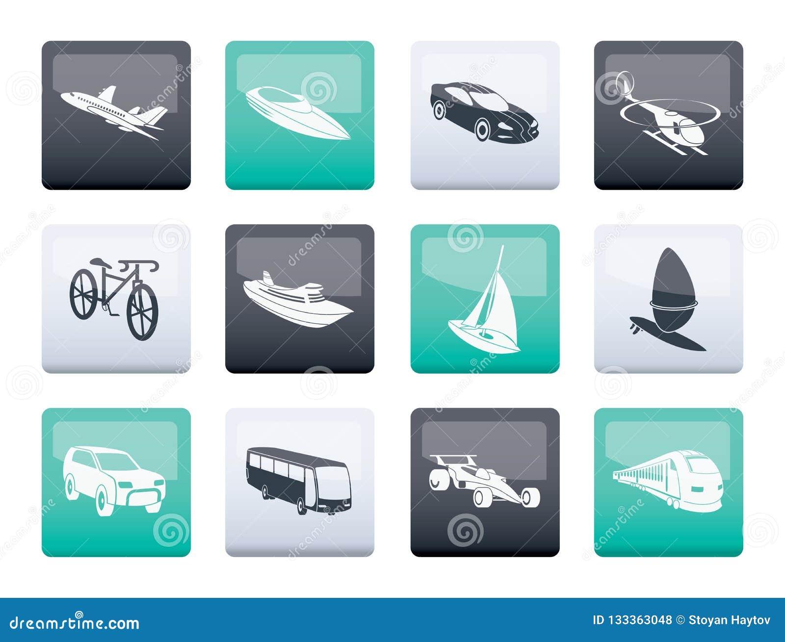 Różne transportu i podróży ikony nad koloru tłem typ