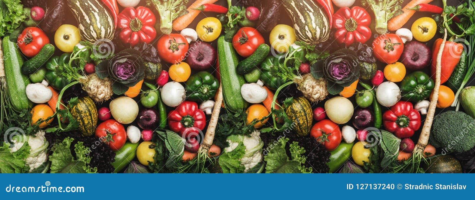 Różni kolorowi świezi warzywa po całym stół w pełnej ramie Zdrowy jedzenie z wiele witaminami i Odgórny widok