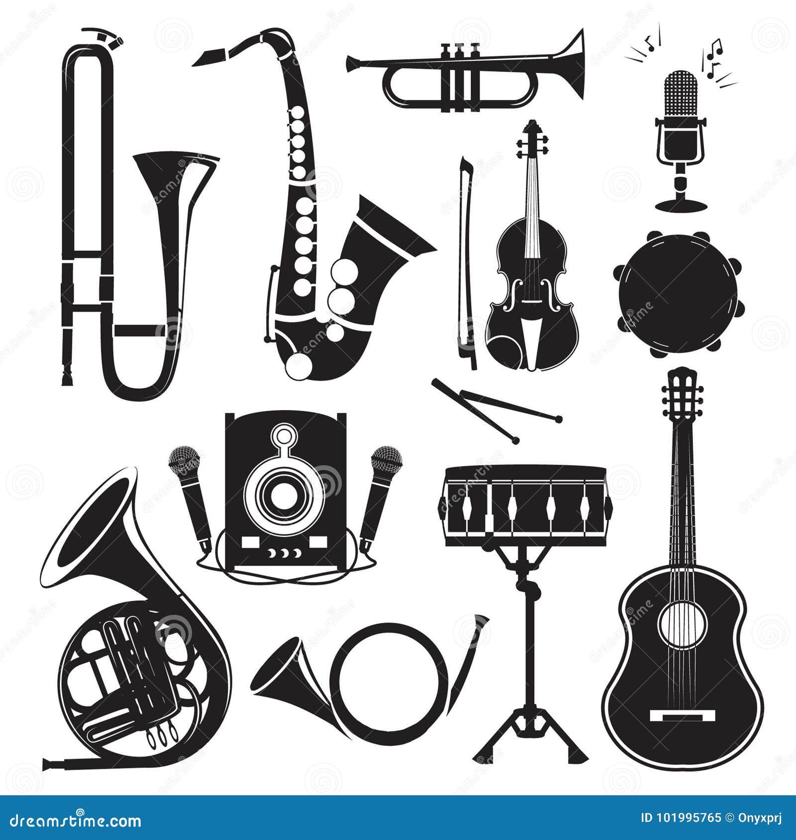 Różni monochromatyczni obrazki instrumenty muzyczni odizolowywający na bielu Wektorów obrazki ustawiający